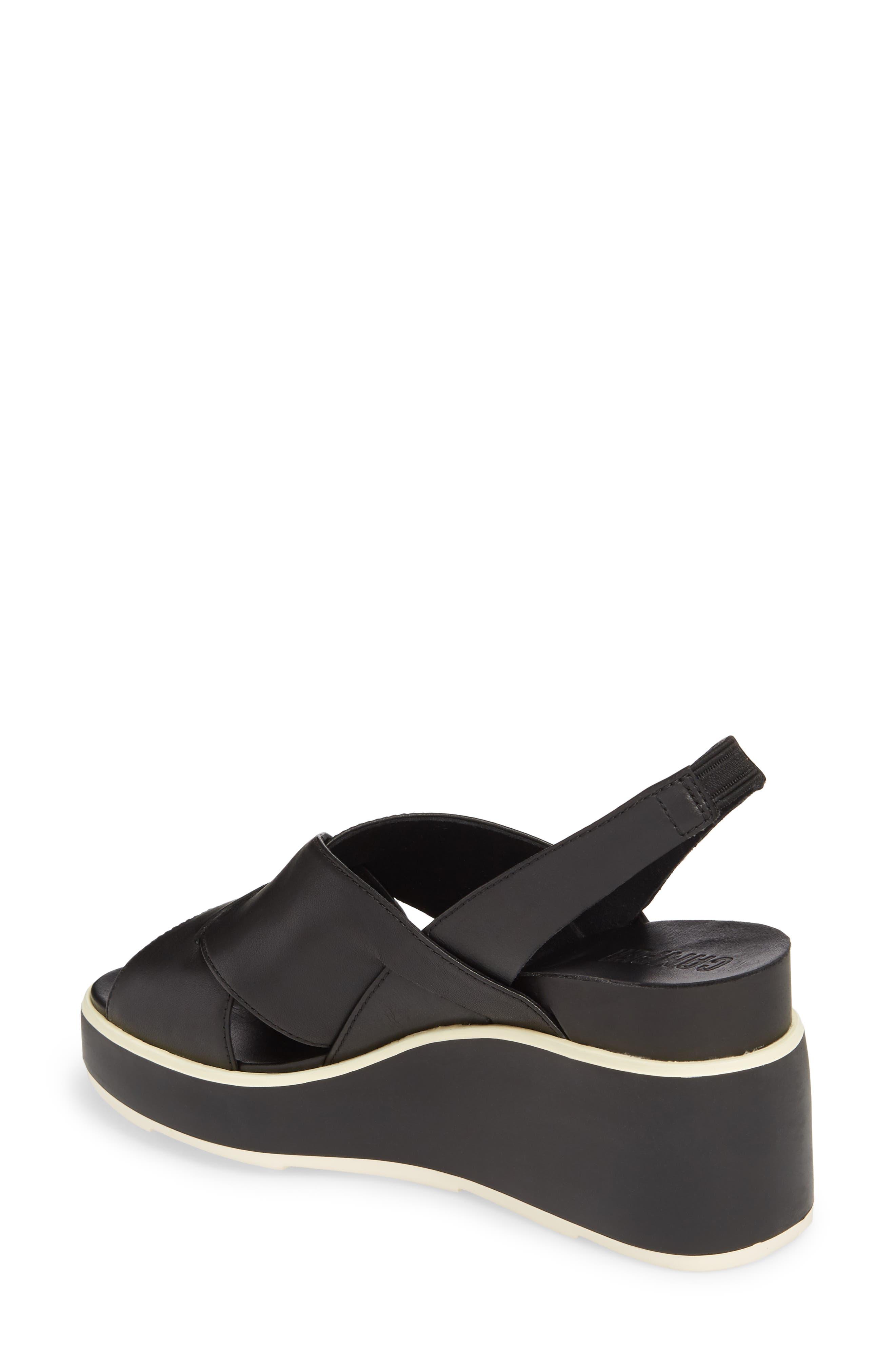 Tropik Cross Strap Wedge Sandal,                             Alternate thumbnail 2, color,                             BLACK LEATHER