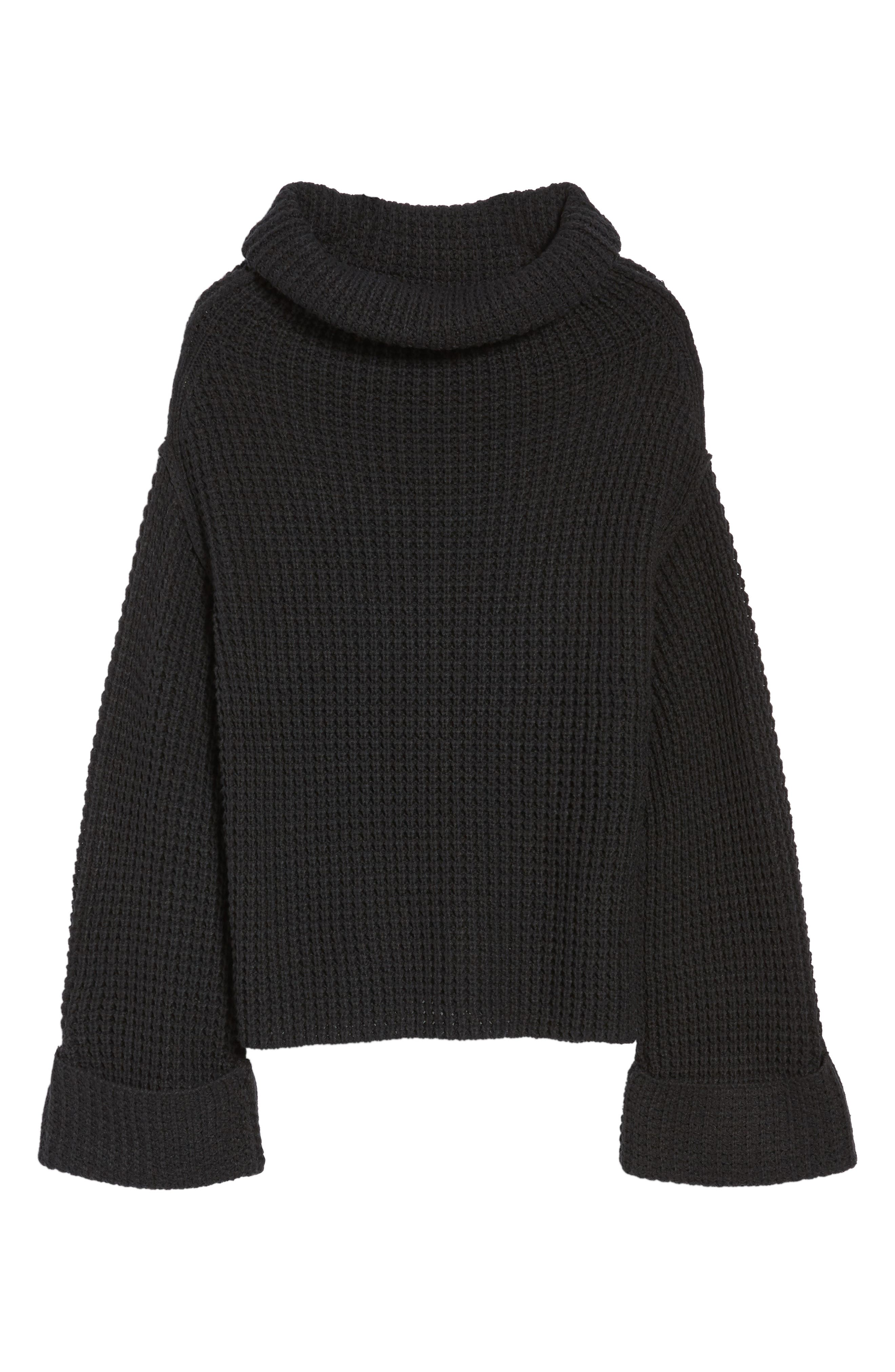 Cowl Neck Thermal Stitch Sweater,                             Alternate thumbnail 6, color,                             001