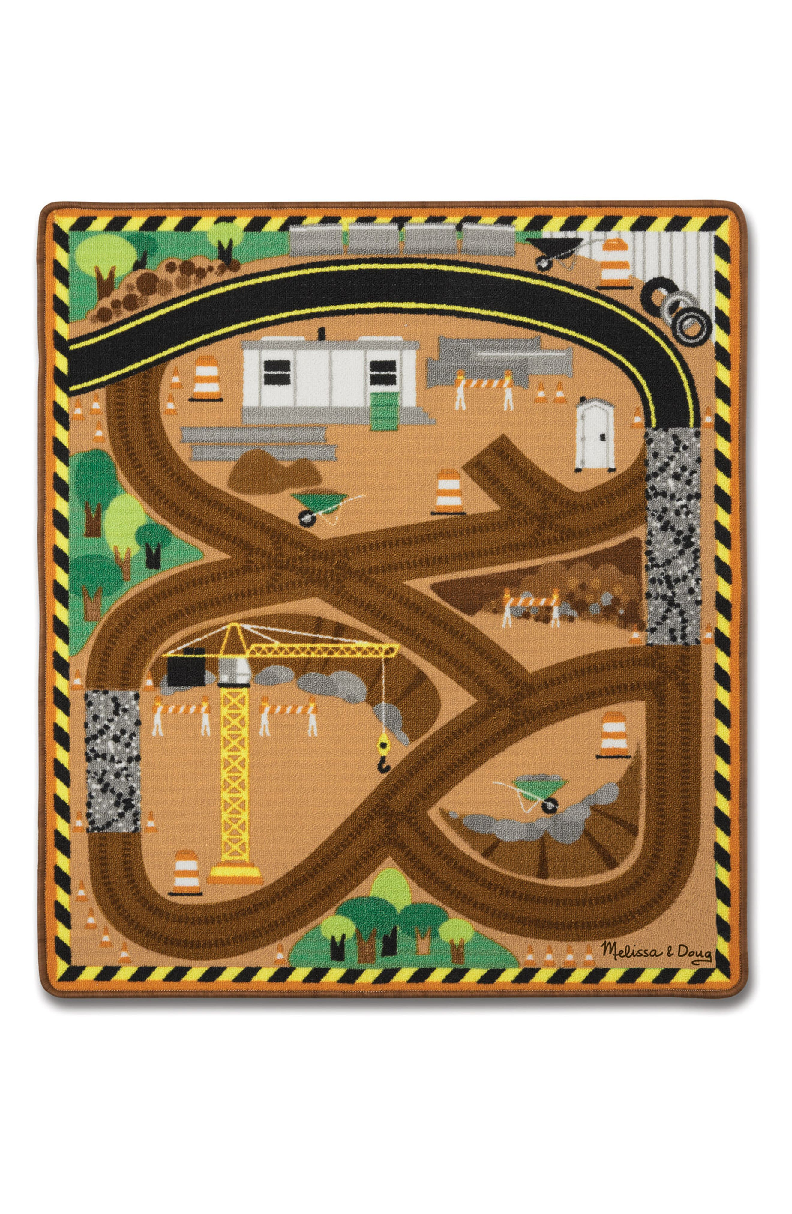 Round the Construction Zone Work Site Rug & Vehicle Set, Main, color, GREEN