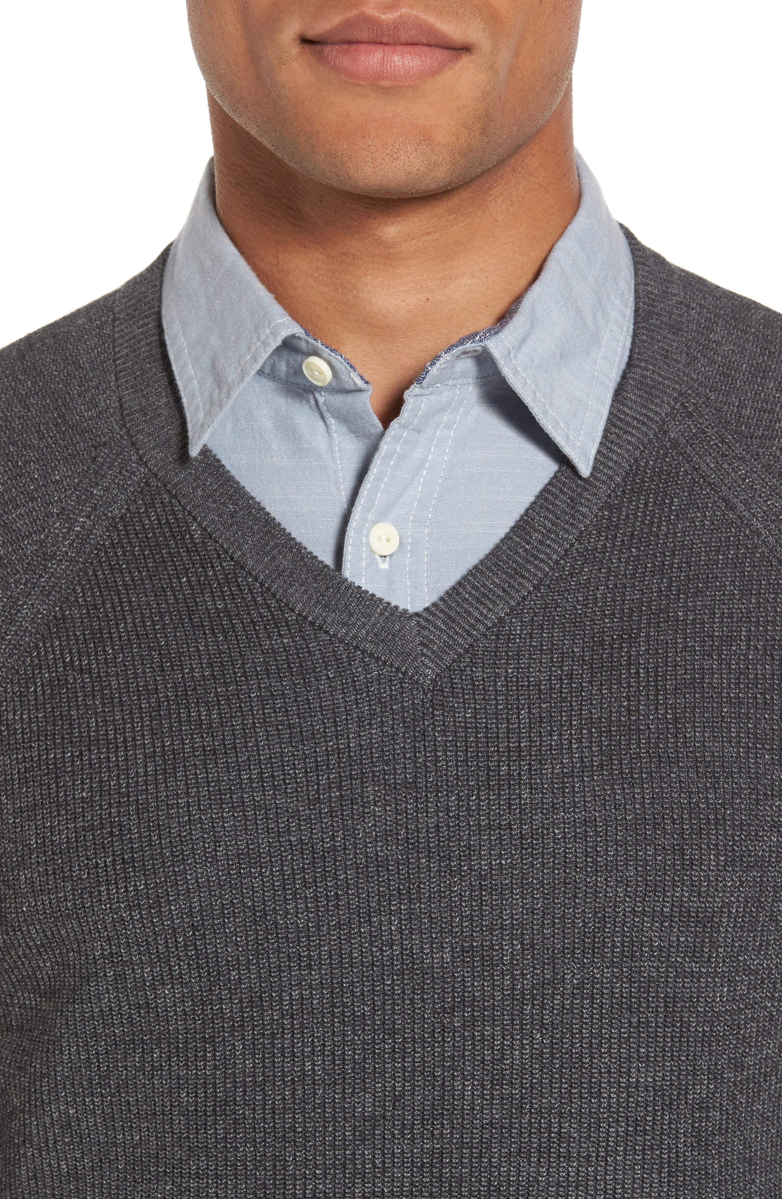 Supima<sup>®</sup> Cotton V-Neck Sweater,                             Alternate thumbnail 4, color,                             021