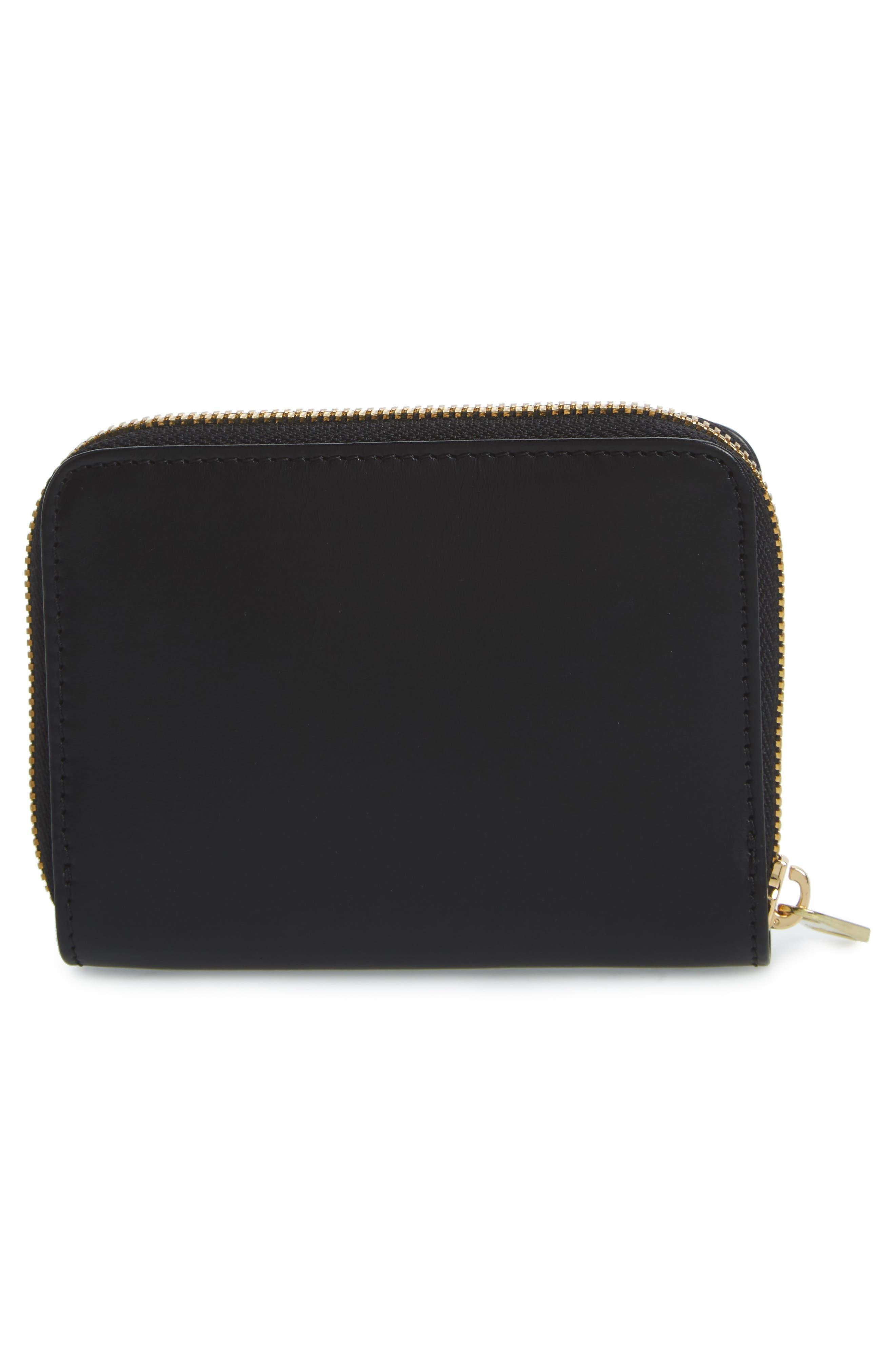 Compact Leather Wallet,                             Alternate thumbnail 4, color,                             NOIR