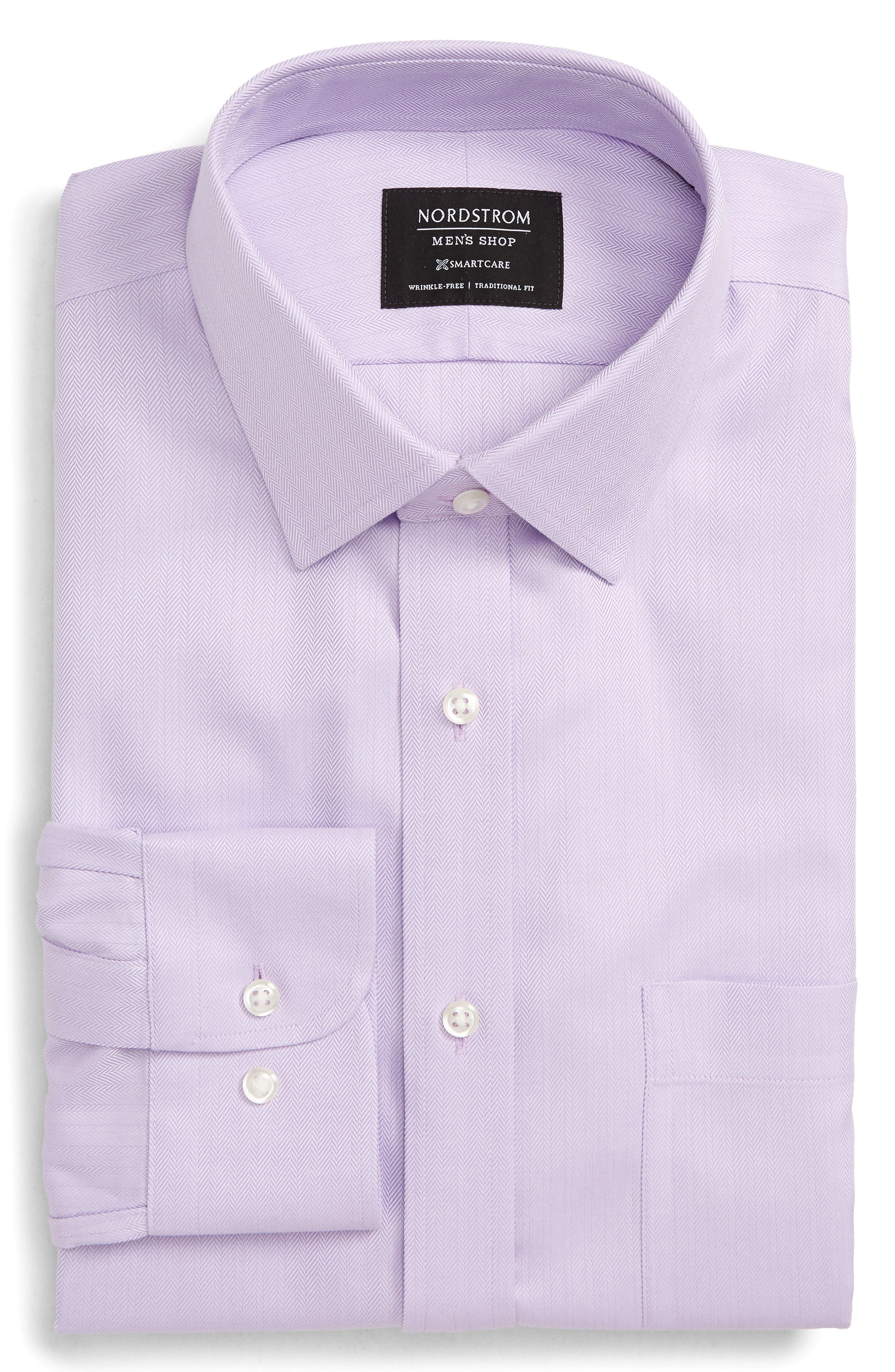 Nordstrom Shop Smartcare(TM) Traditional Fit Herringbone Dress Shirt - Purple
