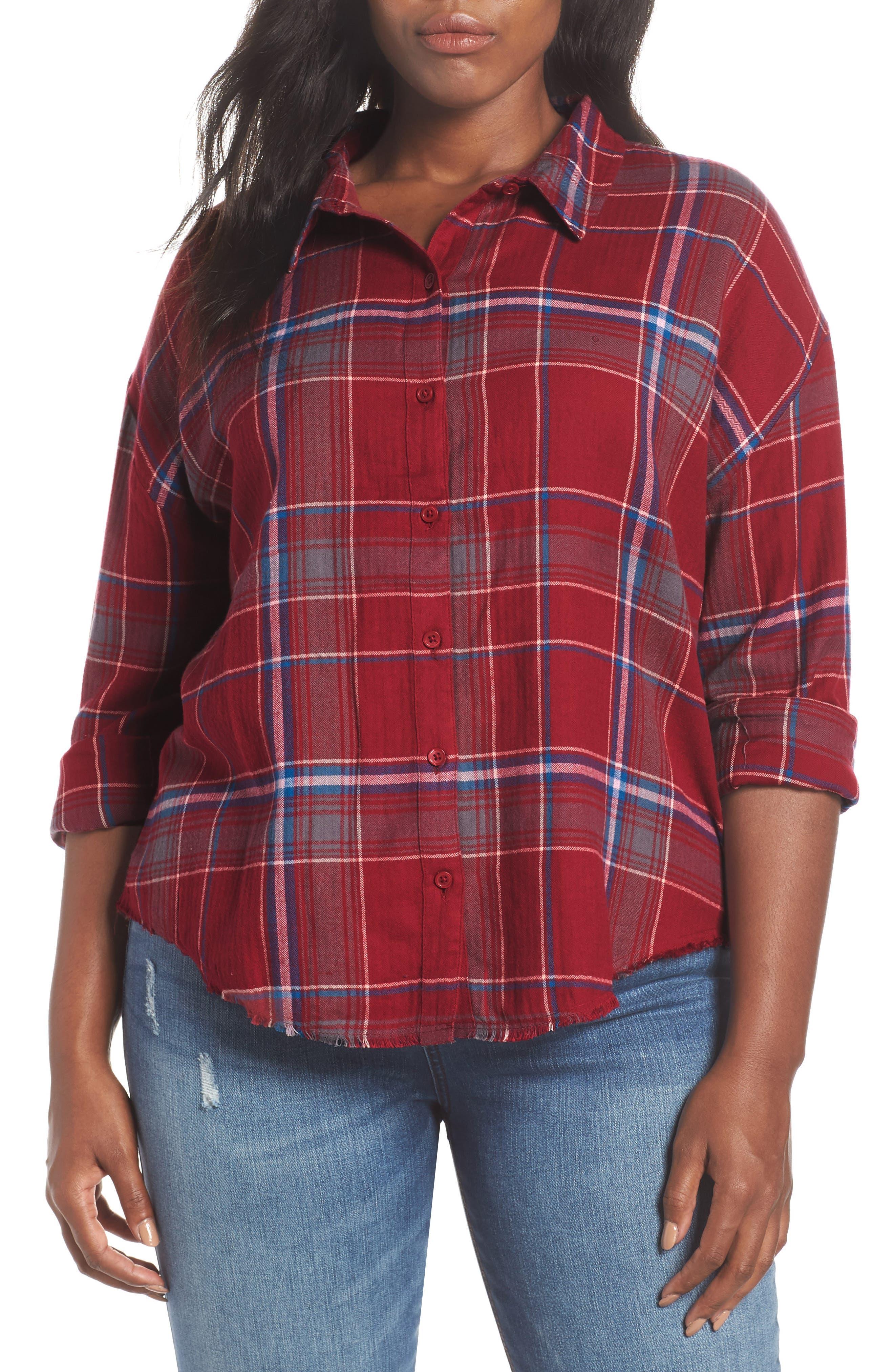 Frayed Edge Plaid Shirt,                             Alternate thumbnail 2, color,                             RED RUMBA NICOLE PLAID