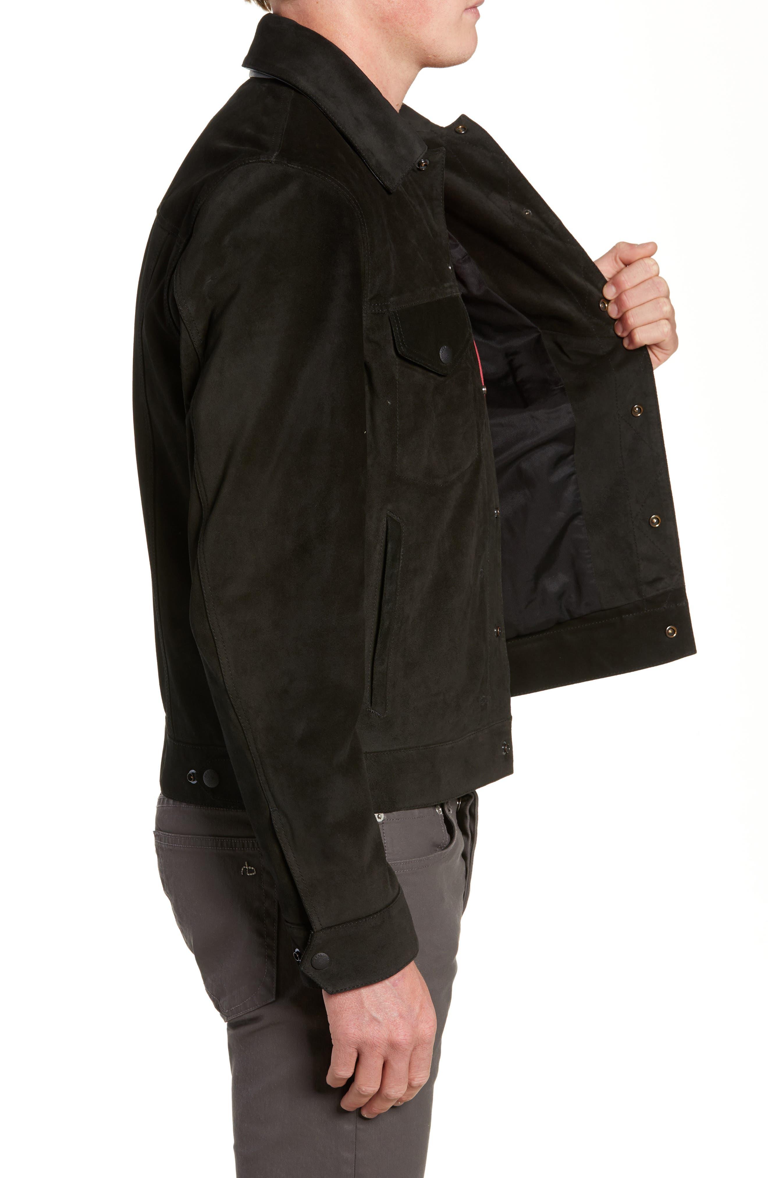 Suede Slim Fit Trucker Jacket,                             Alternate thumbnail 3, color,                             BLACK