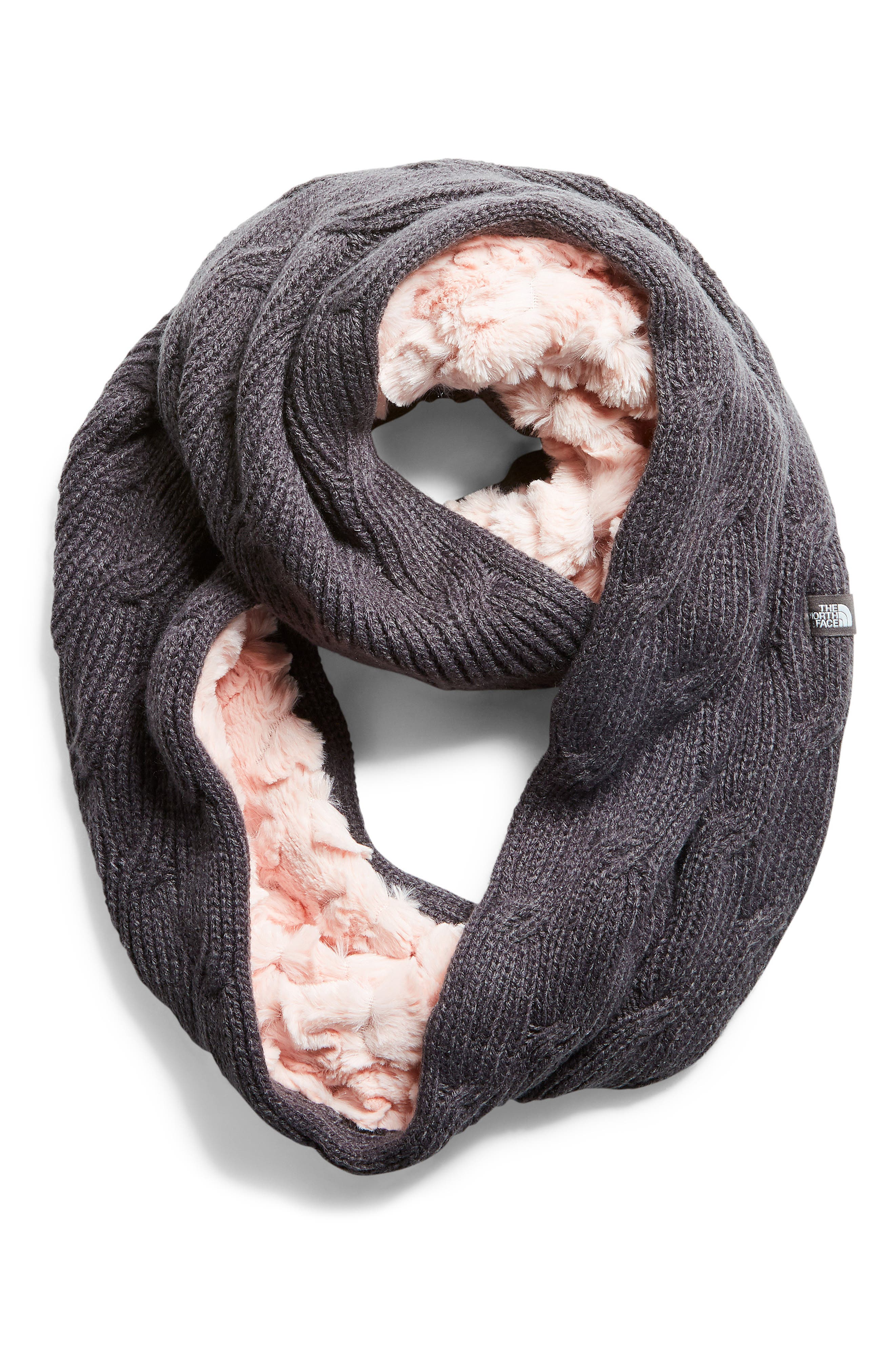 Furry Faux Fur & Knit Infinity Scarf,                             Main thumbnail 1, color,                             PURDY PINK/ PERISCOPE GREY