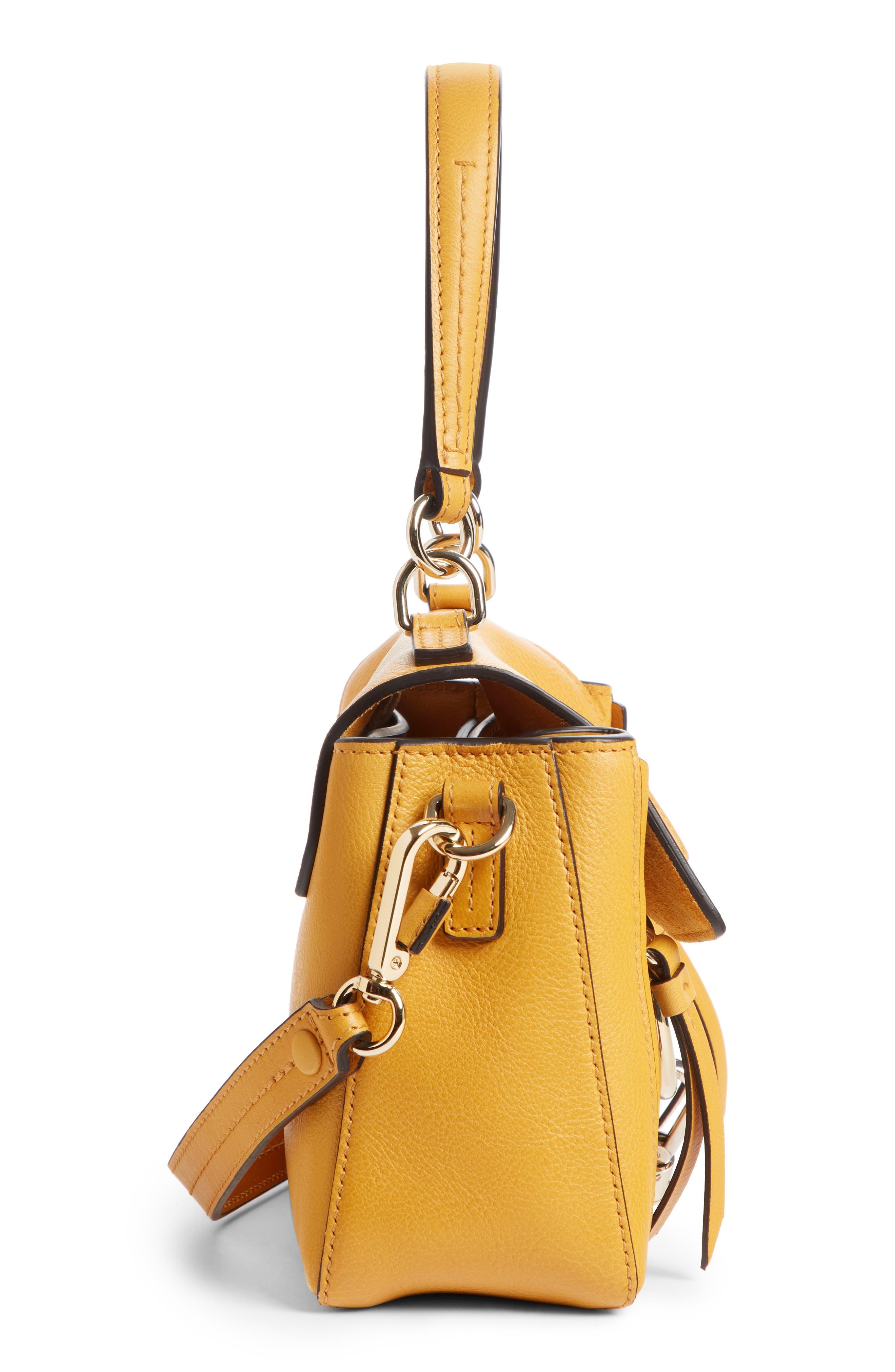 Mini Faye Day Leather Crossbody Bag,                             Alternate thumbnail 3, color,                             BURNING CAMEL
