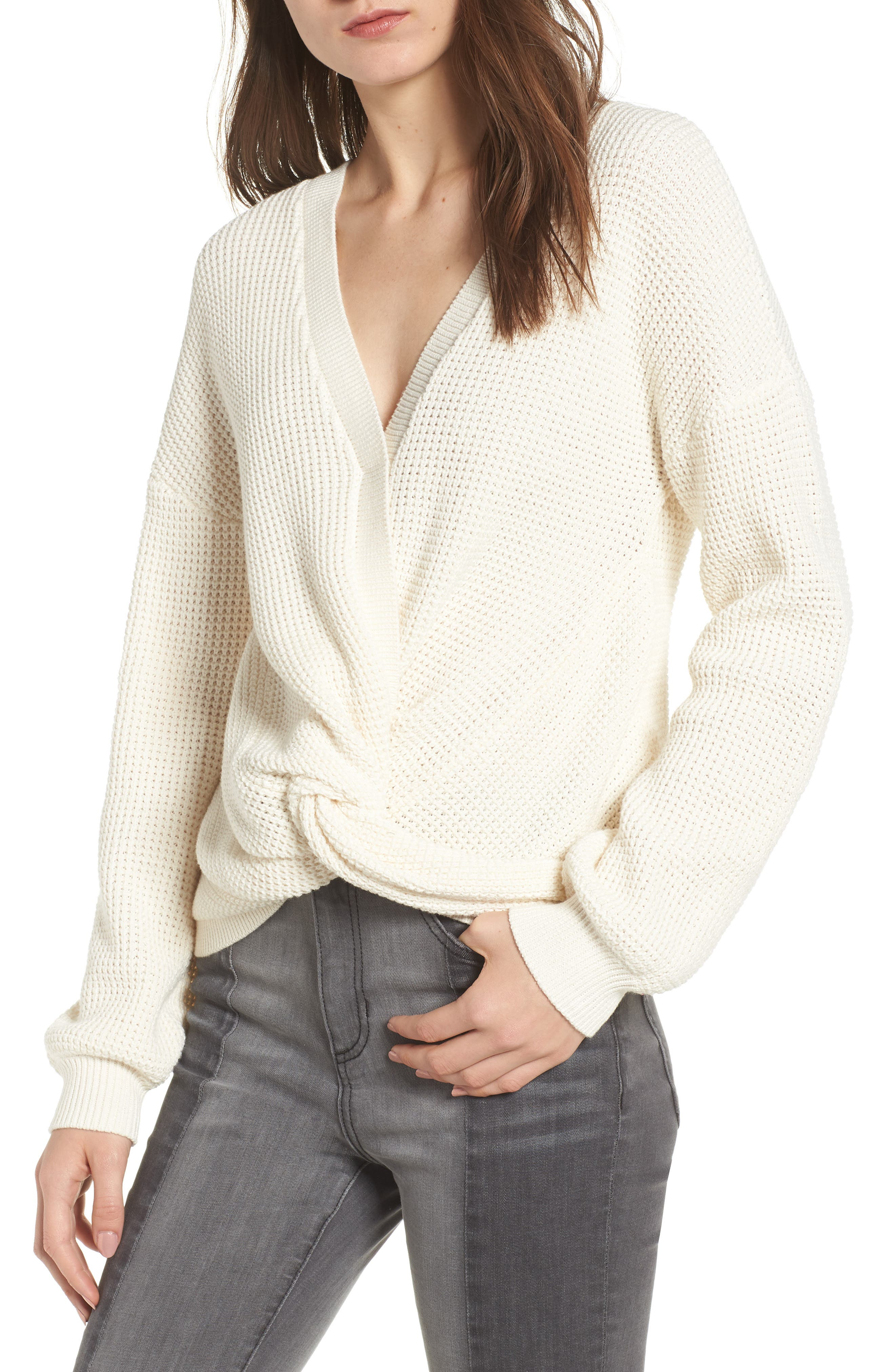 Twist Front Sweater,                             Main thumbnail 1, color,                             IVORY
