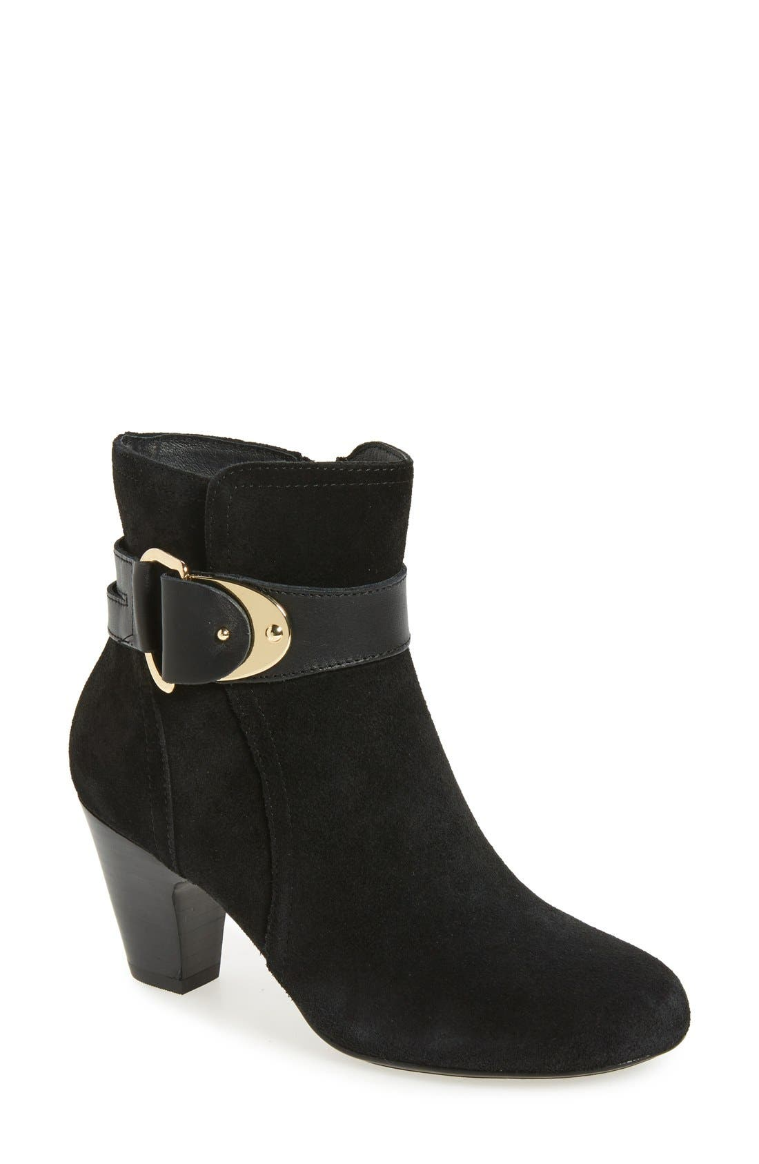'Nadra' Ankle Strap Bootie, Main, color, 001