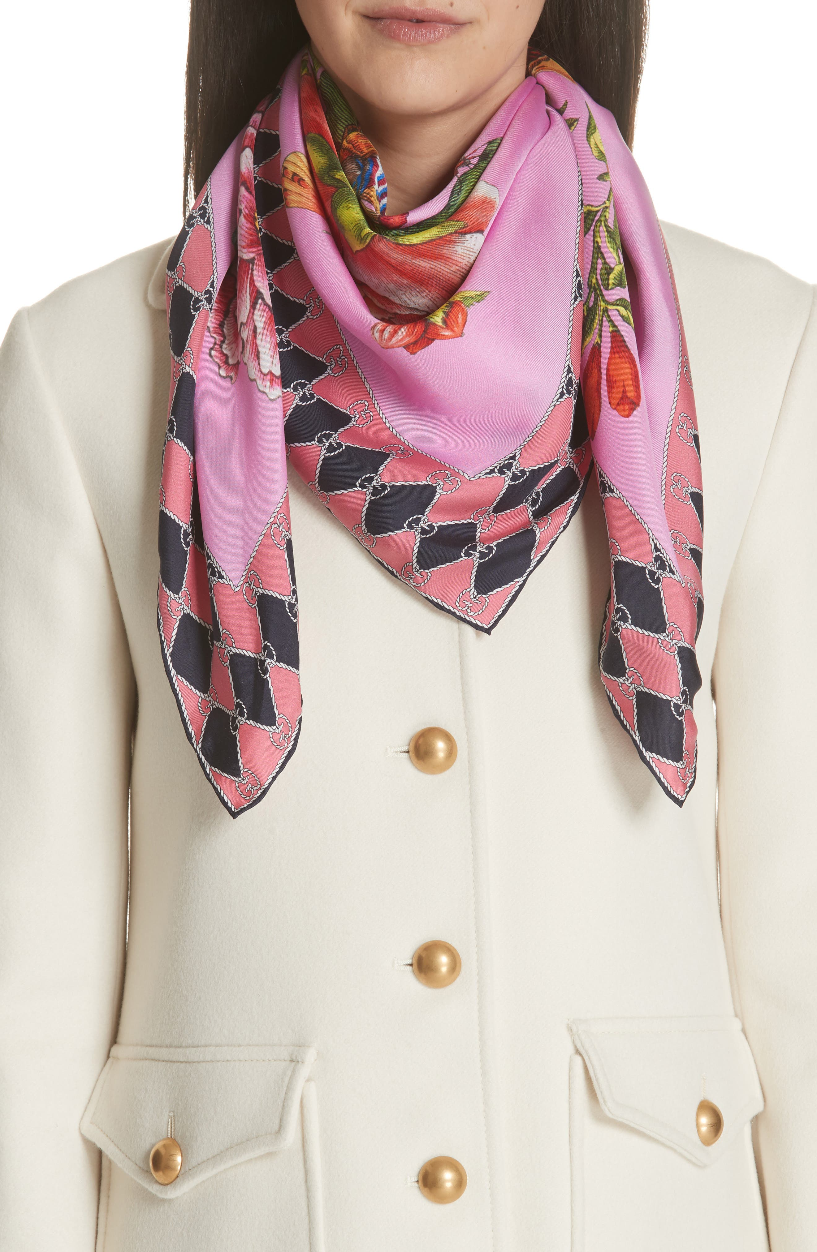 Foulard Chane Bouquet Silk Scarf,                             Main thumbnail 1, color,                             PINK