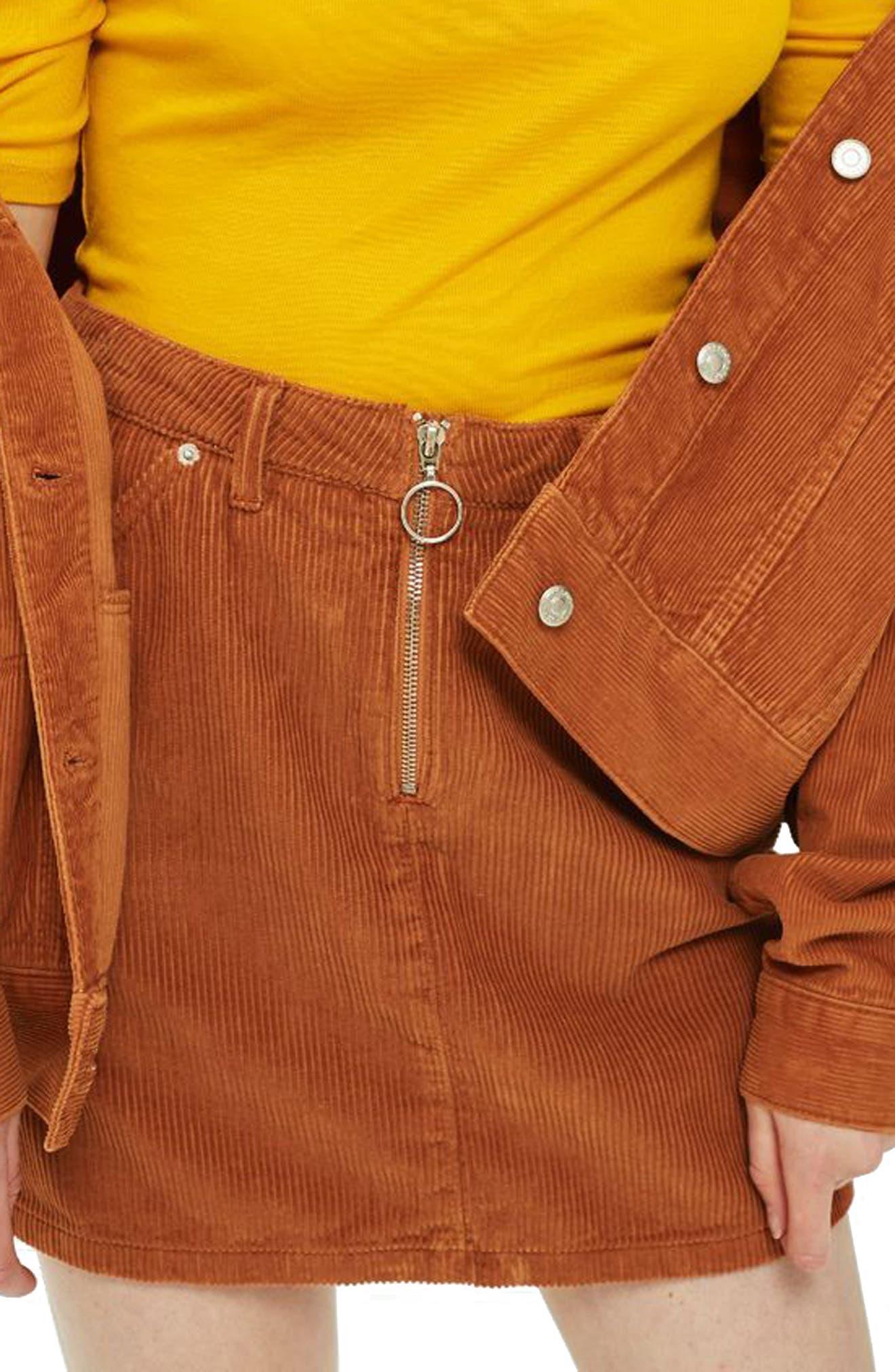 Cord Miniskirt,                         Main,                         color, TOBACCO