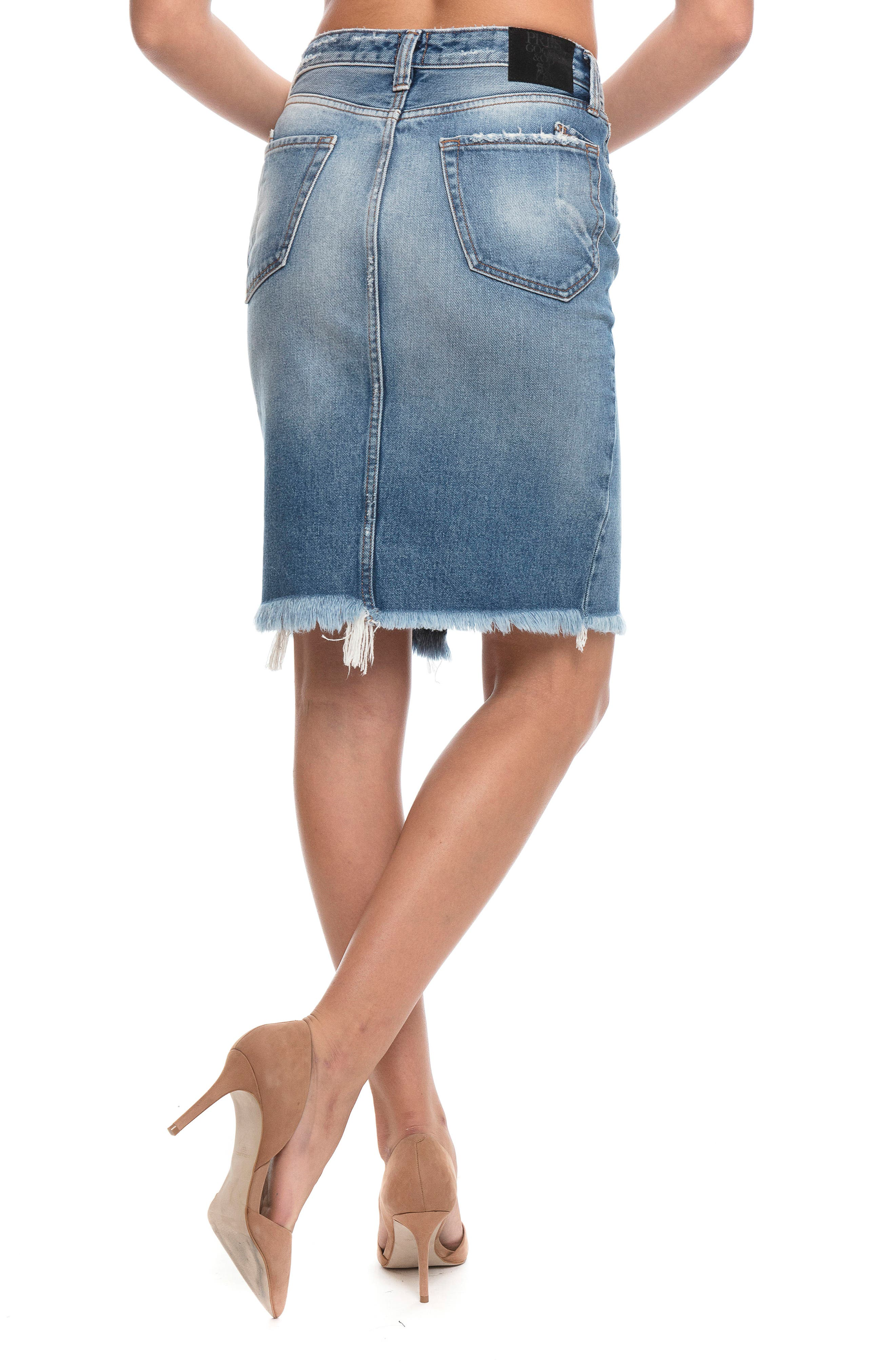 Button Down Denim Pencil Skirt,                             Alternate thumbnail 3, color,                             427