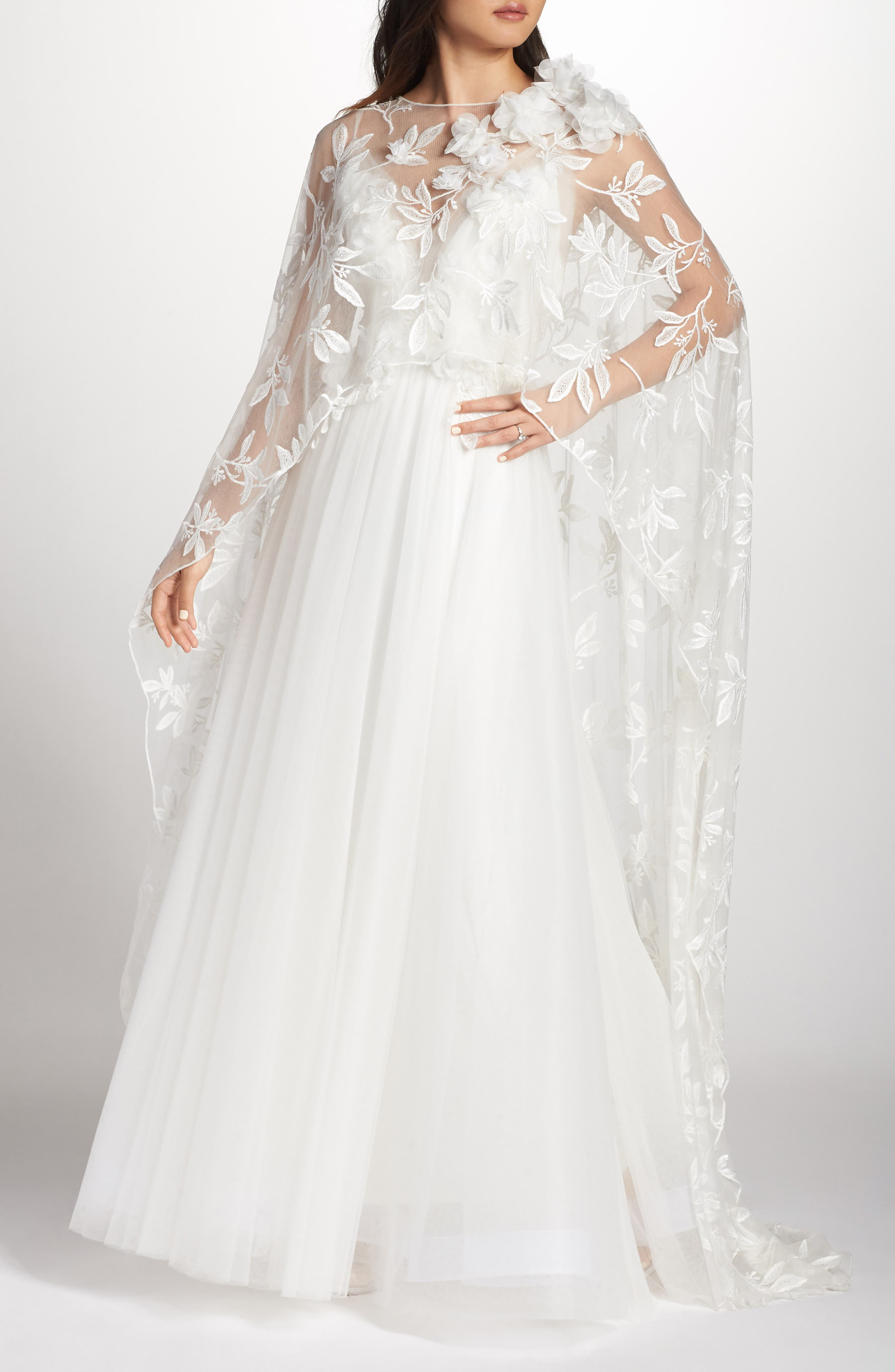 Vintage Inspired Wedding Dress | Vintage Style Wedding Dresses Womens Tadashi Shoji Floral Embroidered Cape $578.00 AT vintagedancer.com