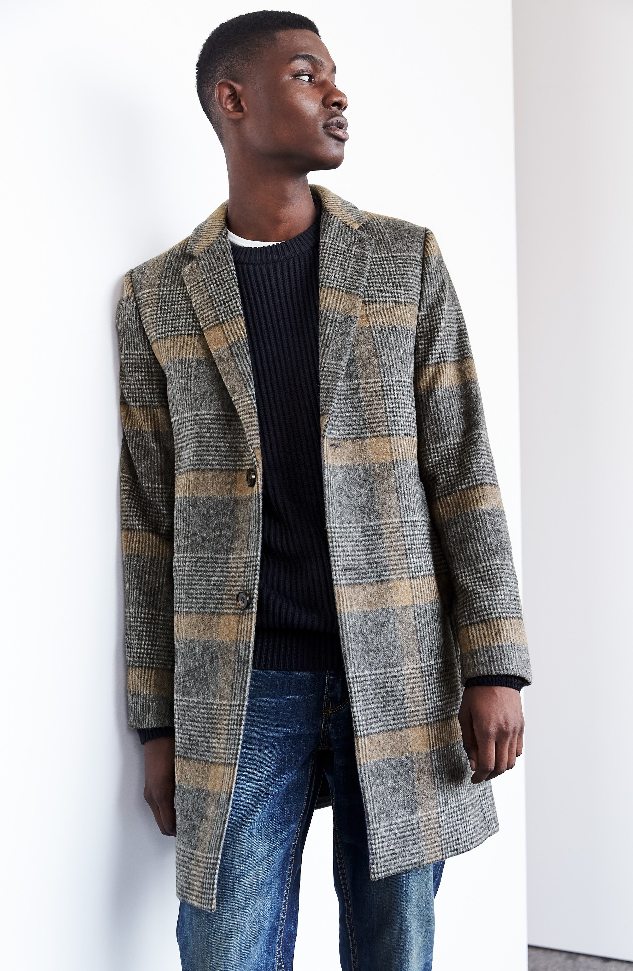 Frais Check Wool Overcoat,                             Alternate thumbnail 8, color,                             CAMEL