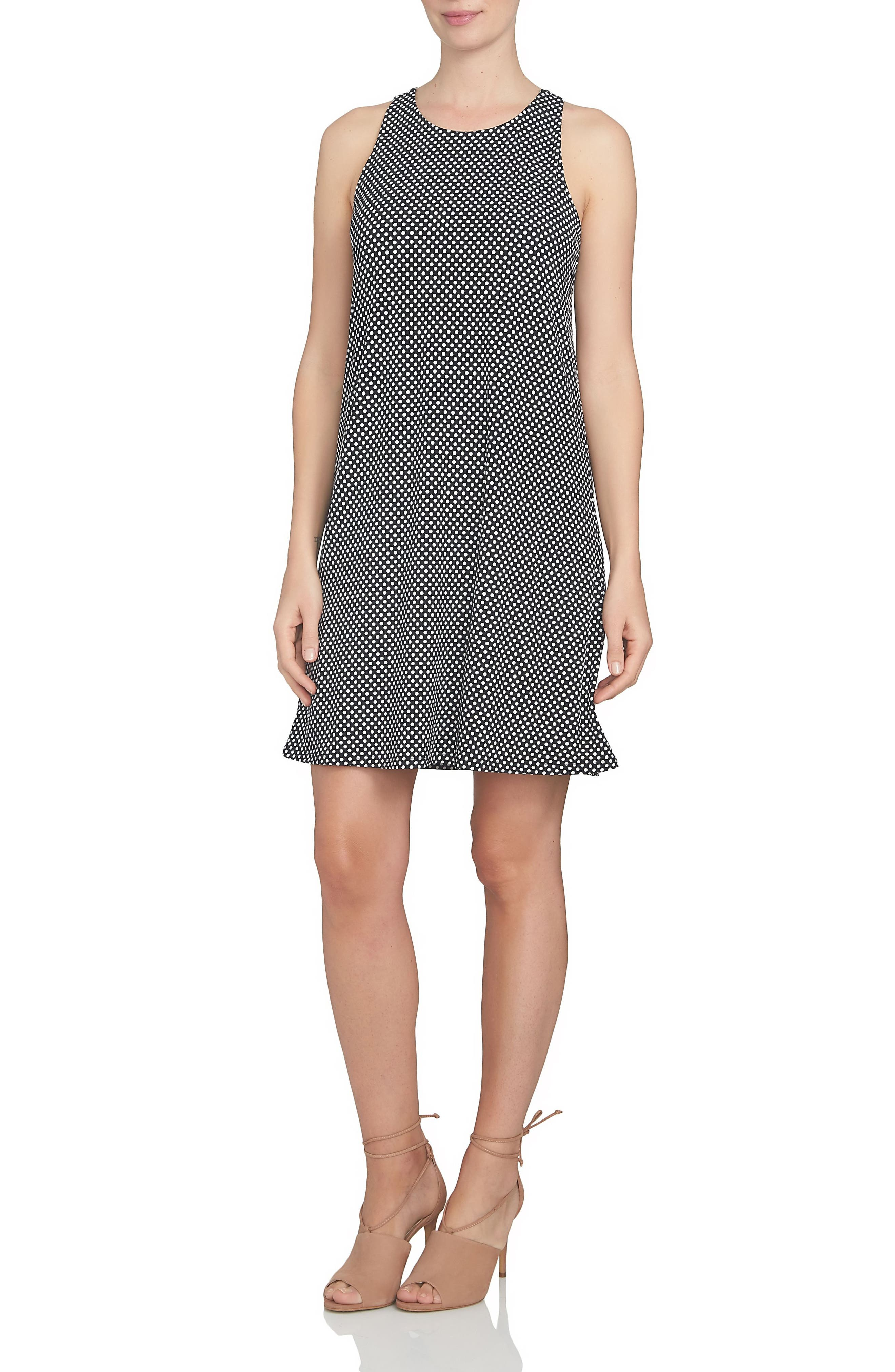 Polka Dot Twist Back Knit Shift Dress,                         Main,                         color, 001