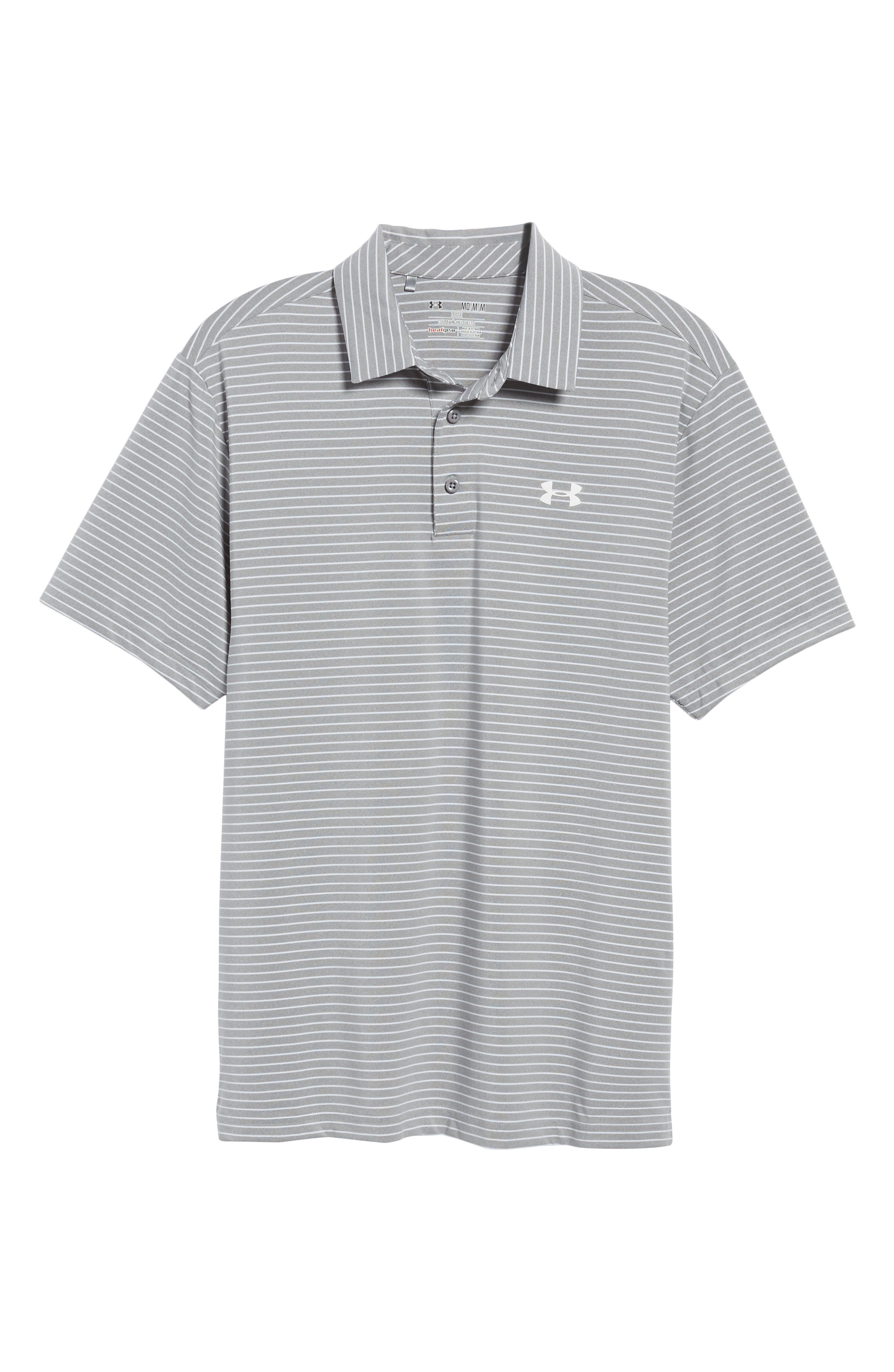 'Playoff' Loose Fit Short Sleeve Polo,                             Alternate thumbnail 6, color,                             TRUE GREY HEATHER/ WHT STRIPE