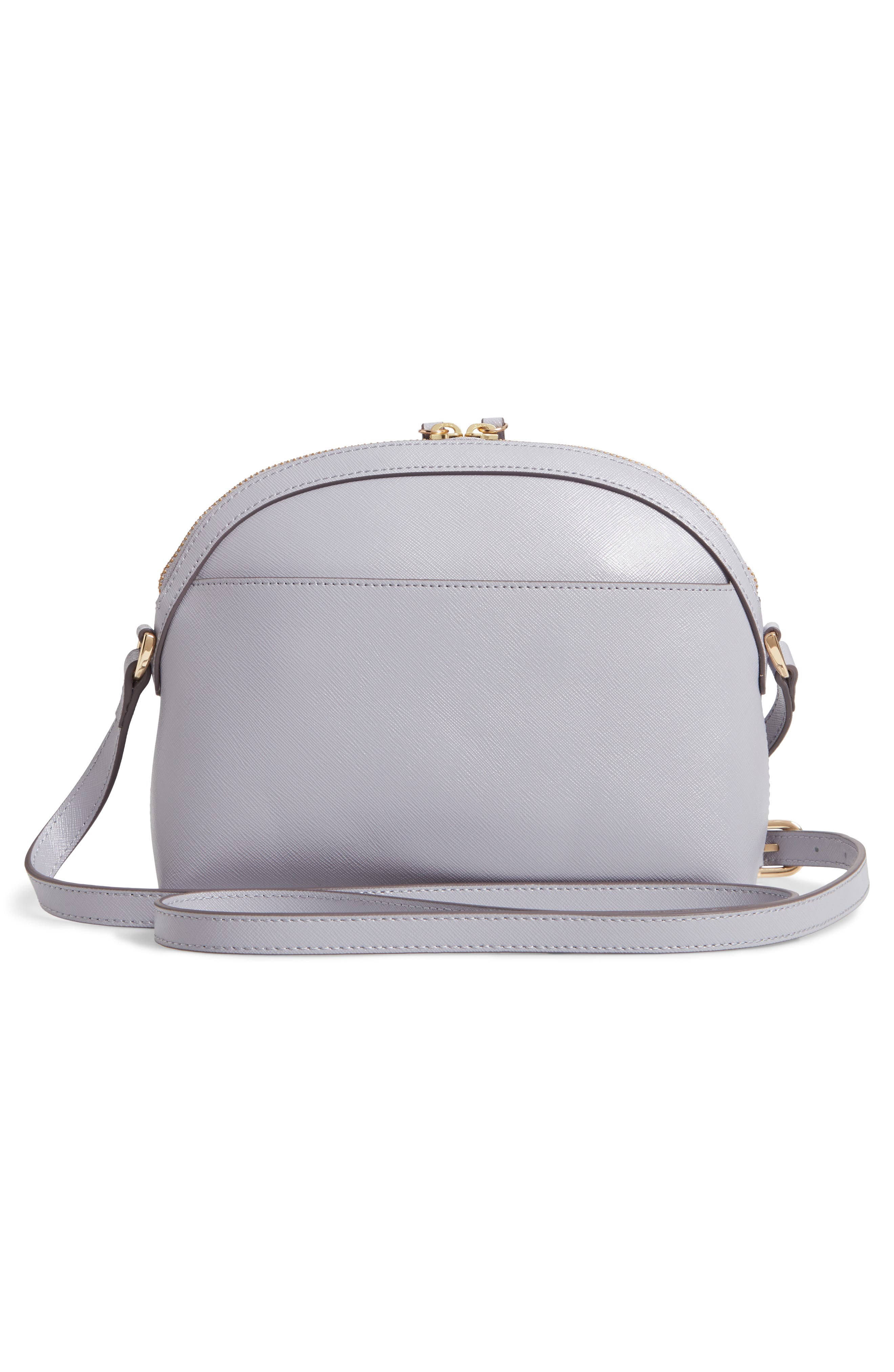Isobel Half Moon Leather Crossbody Bag,                             Alternate thumbnail 3, color,                             GREY LILAC