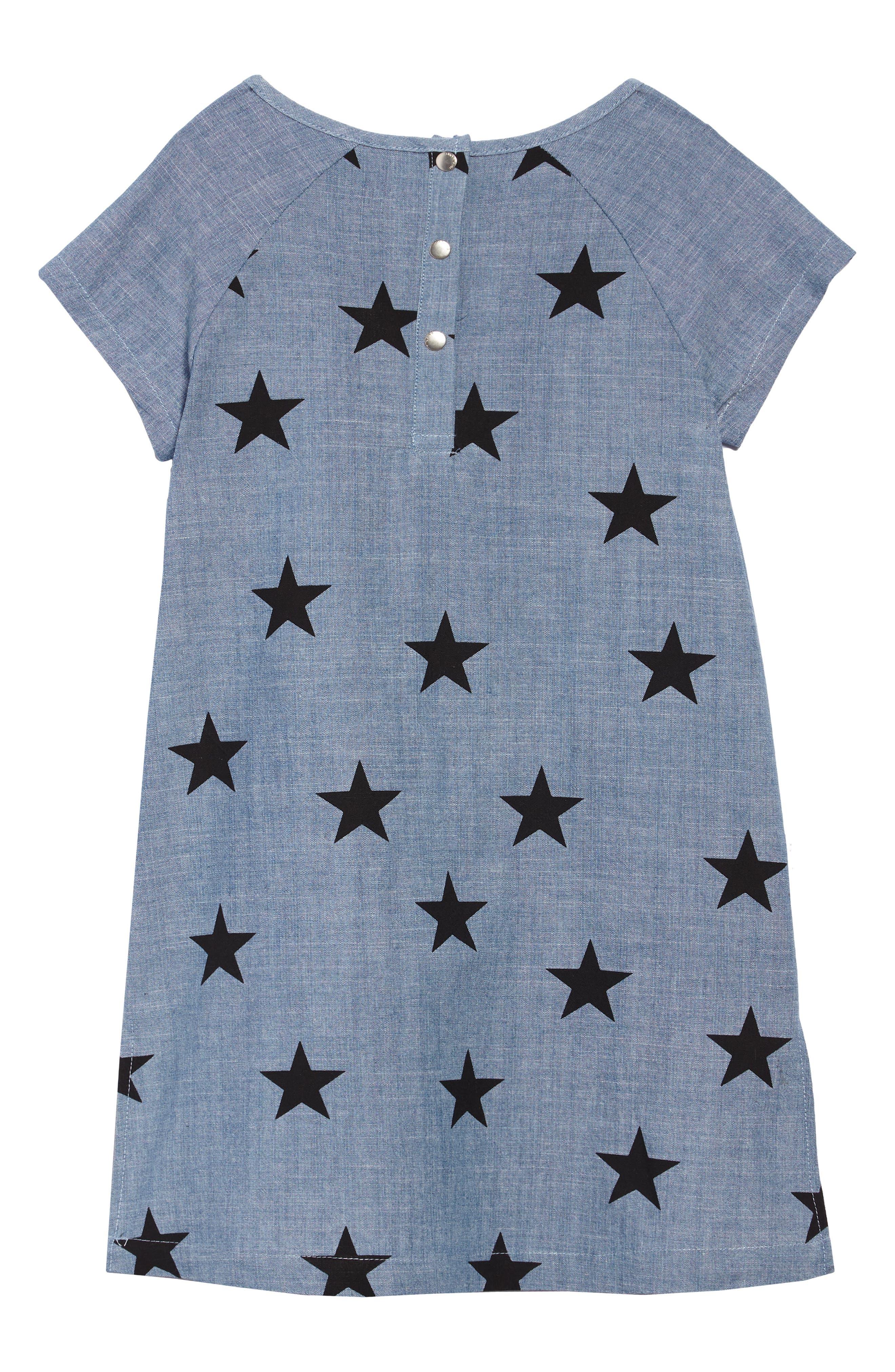 Star Print Chambray Dress,                             Alternate thumbnail 2, color,                             CHAMBRAY