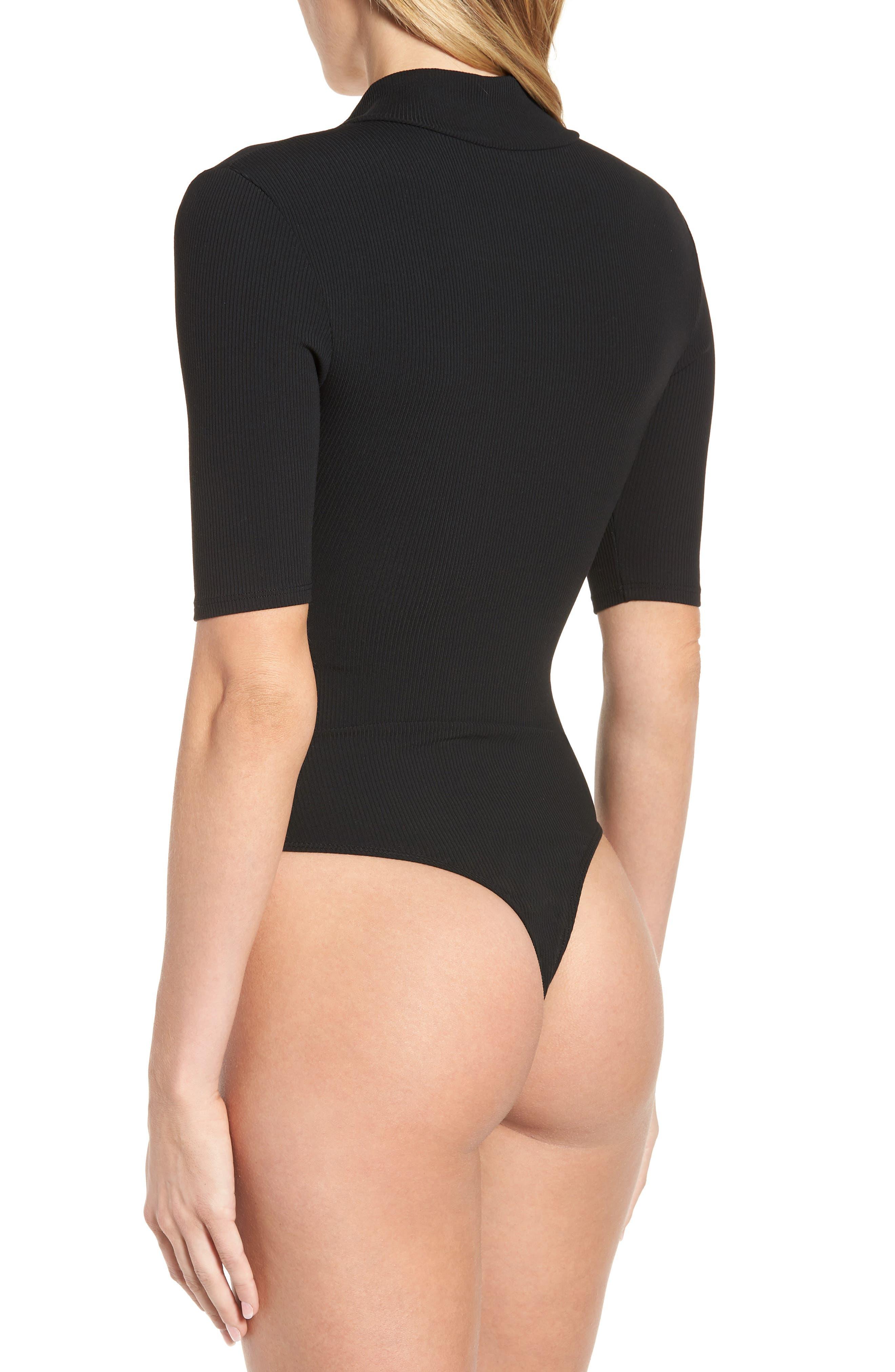 Mock Neck Zip Bodysuit,                             Alternate thumbnail 3, color,                             001
