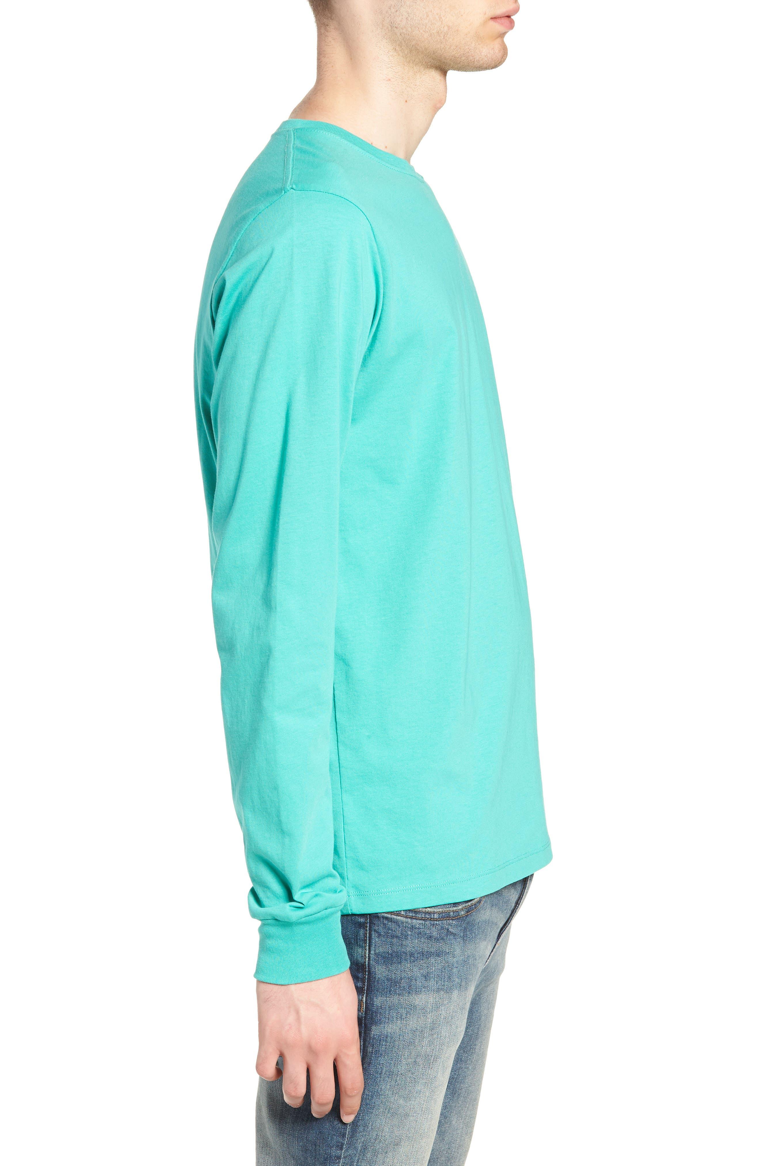Diamond Spiral Long Sleeve T-Shirt,                             Alternate thumbnail 3, color,                             SEAFOAM GREEN