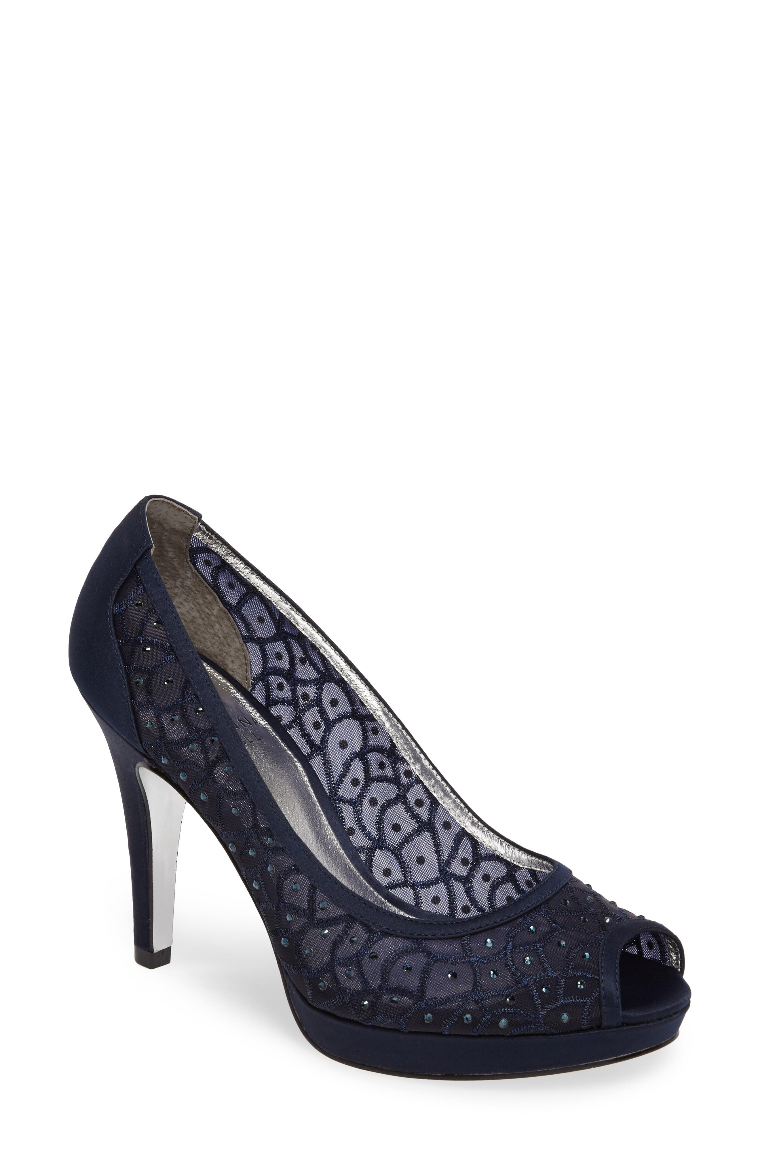 'Foxy' Crystal Embellished Peeptoe Pump,                             Main thumbnail 1, color,                             NAVY SATIN