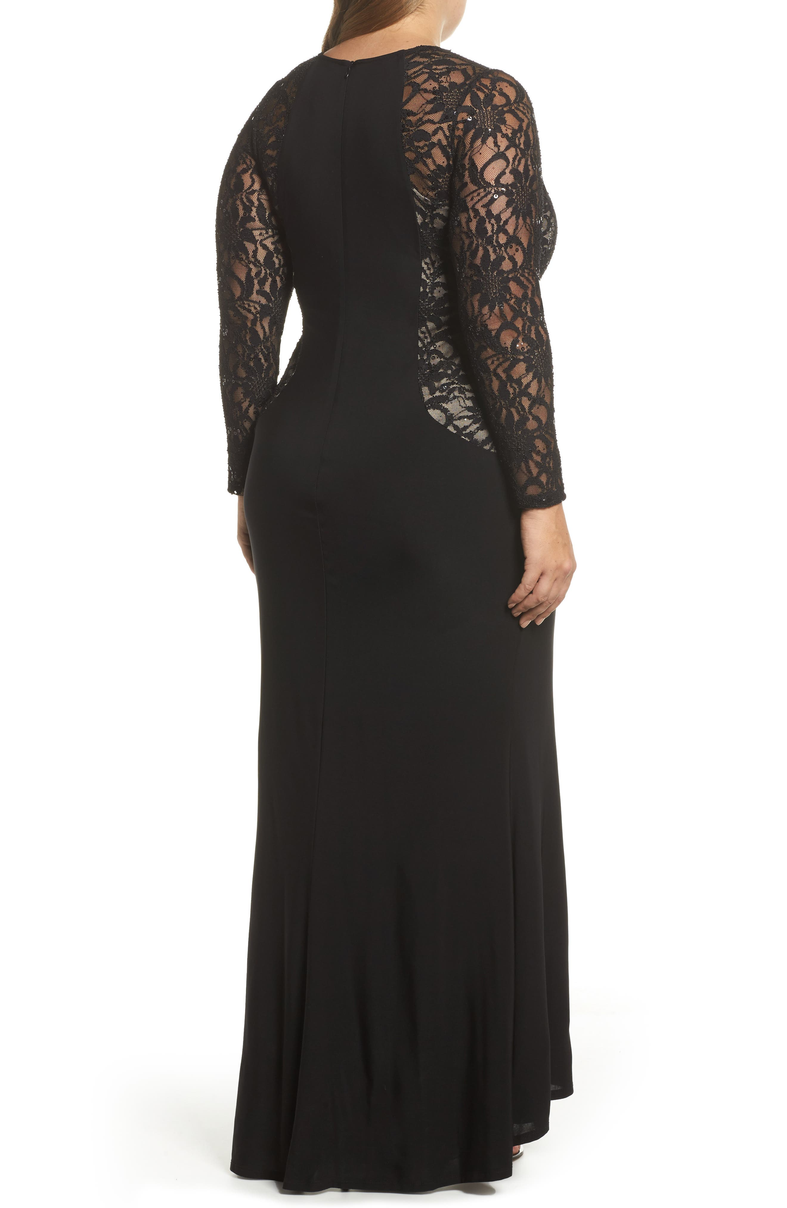 Lace & Knit A-Line Gown,                             Alternate thumbnail 2, color,                             001