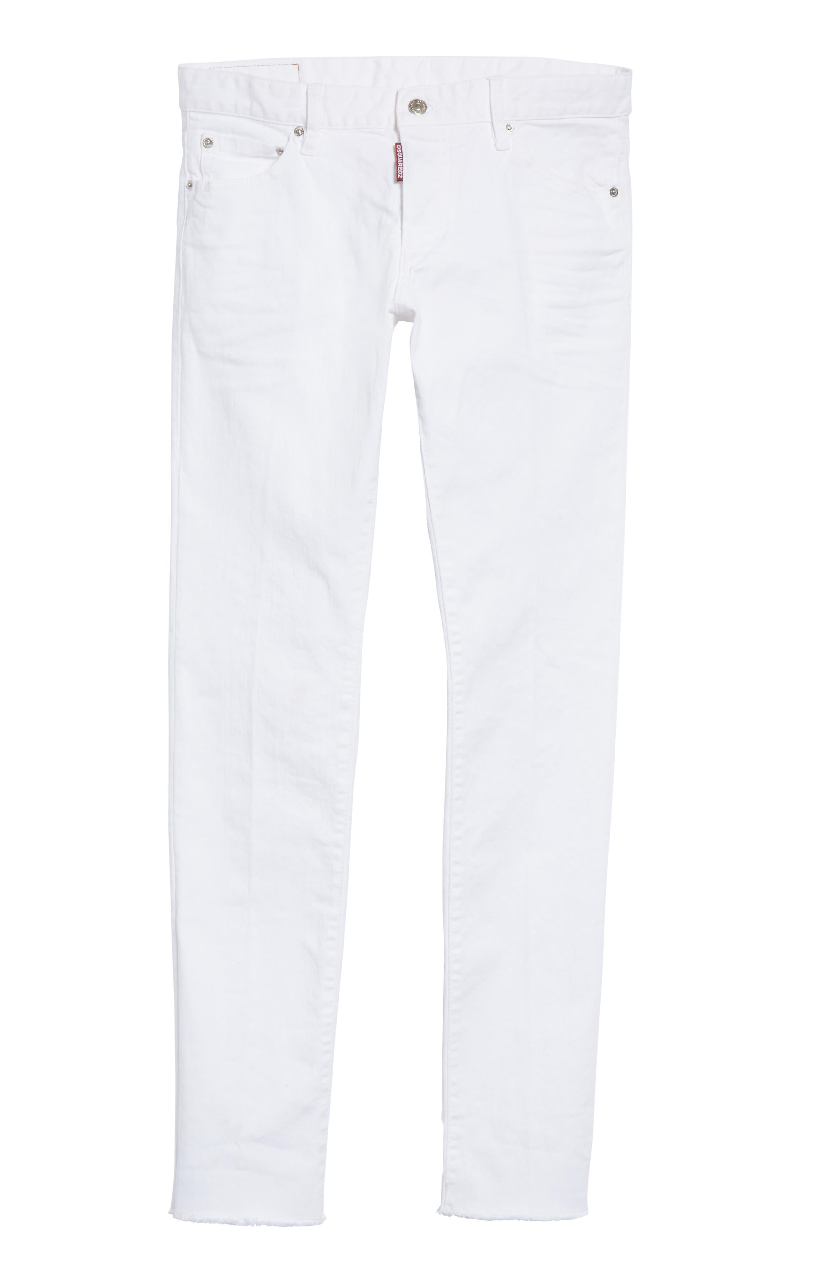 Slim Fit Jeans,                             Alternate thumbnail 6, color,                             WHITE