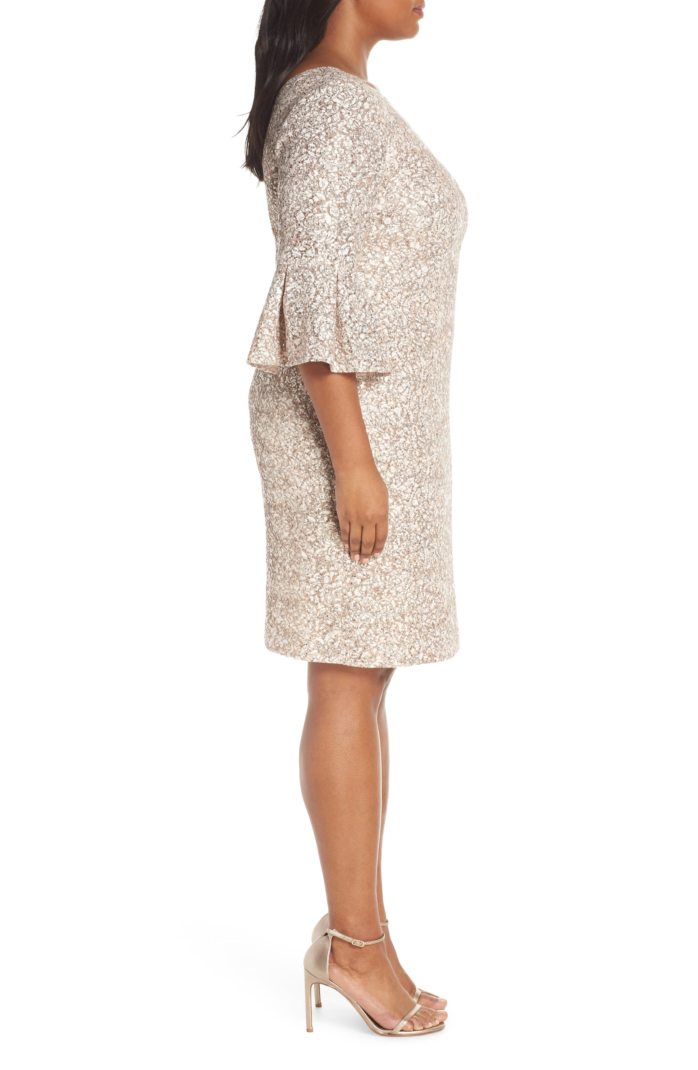 Embroidered Lace Shift Dress,                             Alternate thumbnail 3, color,                             CHAMPAGNE/ IVORY