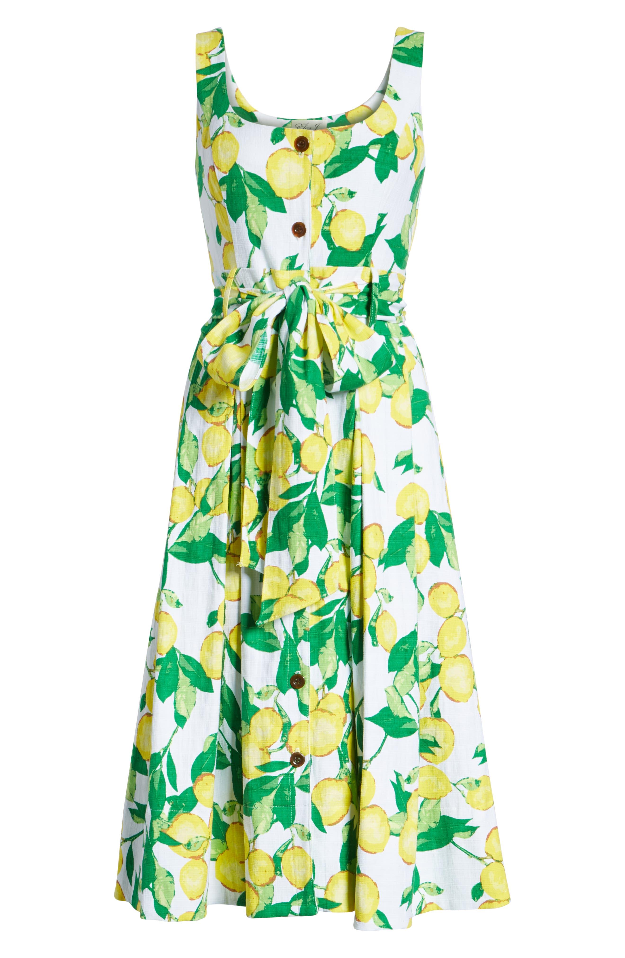 Button Front Lemon Print Dress,                             Alternate thumbnail 7, color,                             700