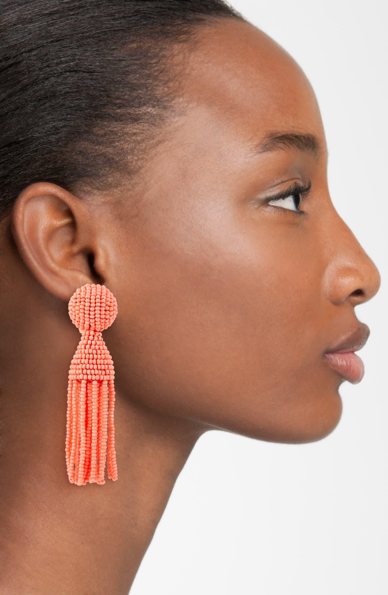'Classic Short' Tassel Drop Clip Earrings,                             Alternate thumbnail 43, color,