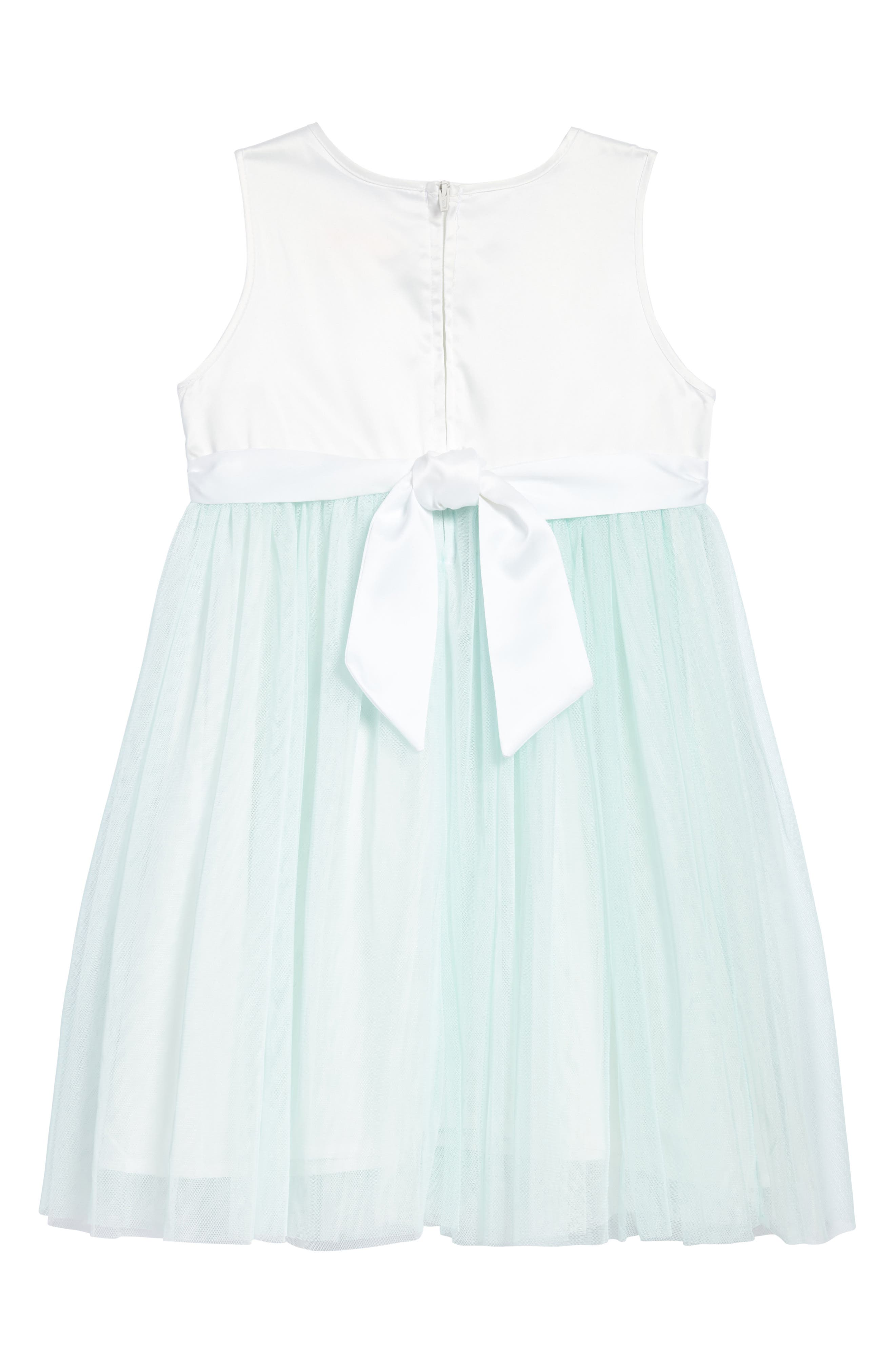 Butterfly Appliqué Tulle Dress,                             Alternate thumbnail 2, color,                             MINT