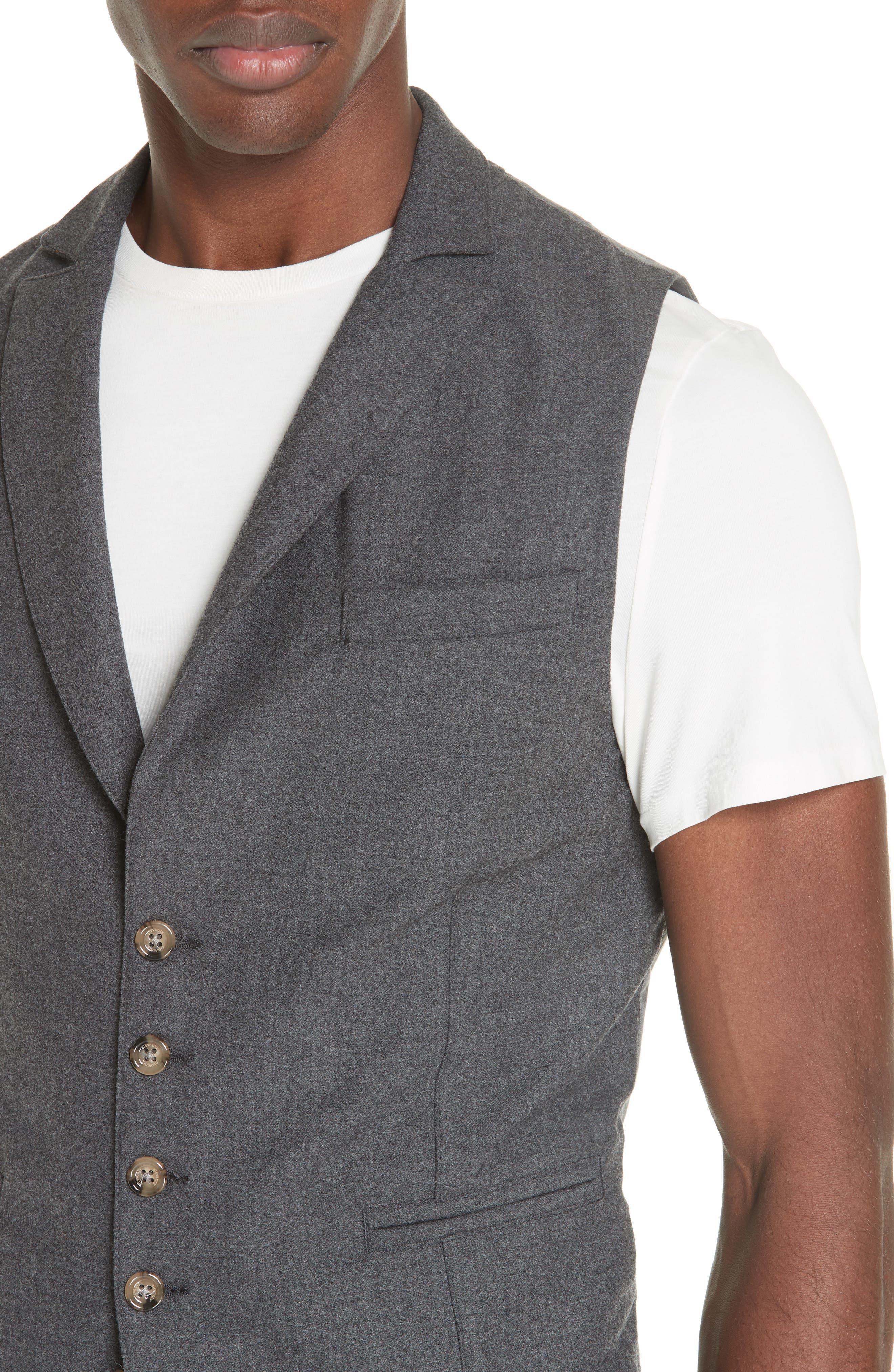 Trim Fit Stretch Wool Vest,                             Alternate thumbnail 4, color,                             DARK GREY