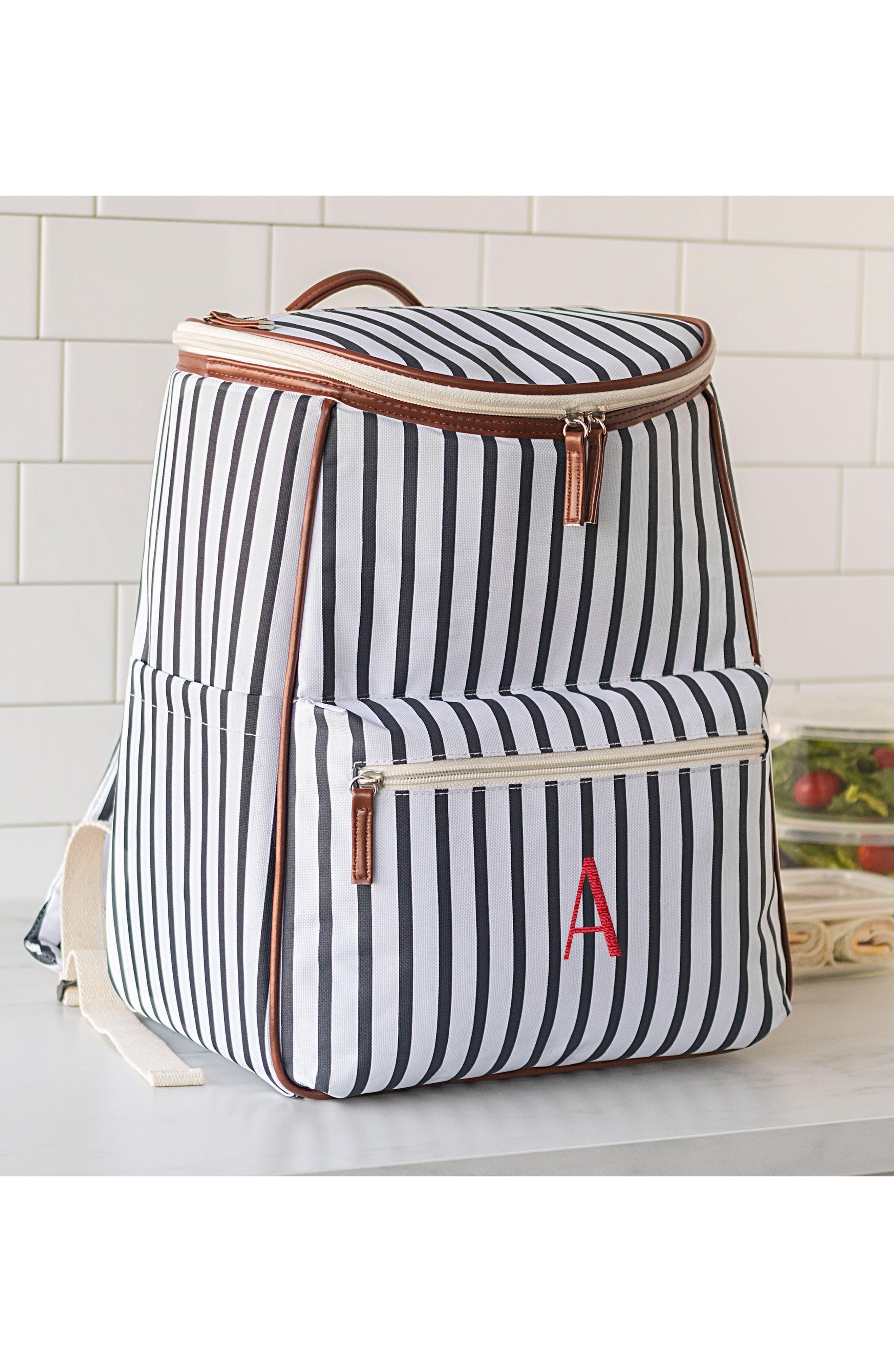 Monogram Stripe Backpack Cooler,                             Alternate thumbnail 9, color,                             BLUE