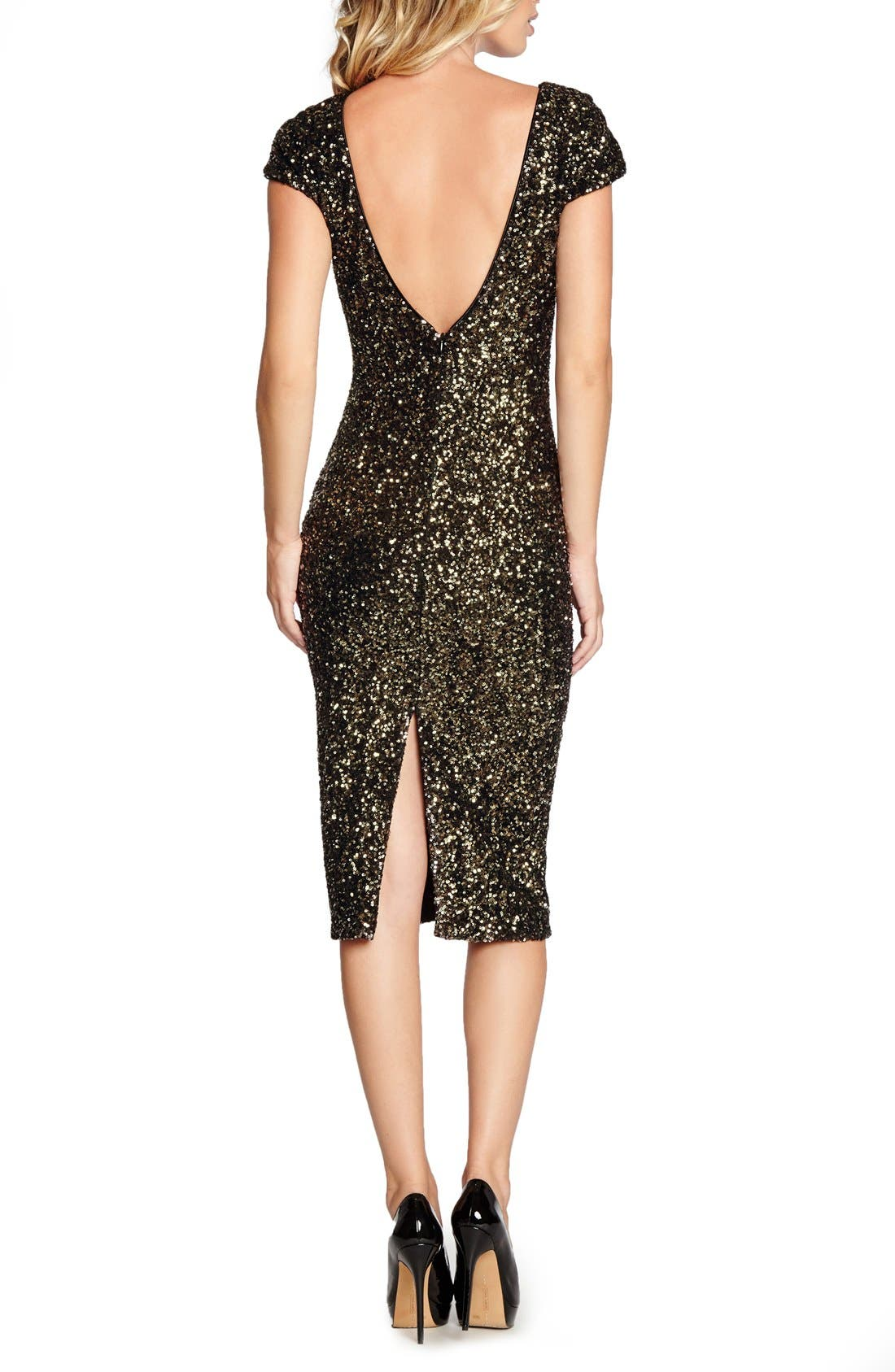 'Marcella' Open Back Sequin Body-Con Dress,                             Alternate thumbnail 9, color,