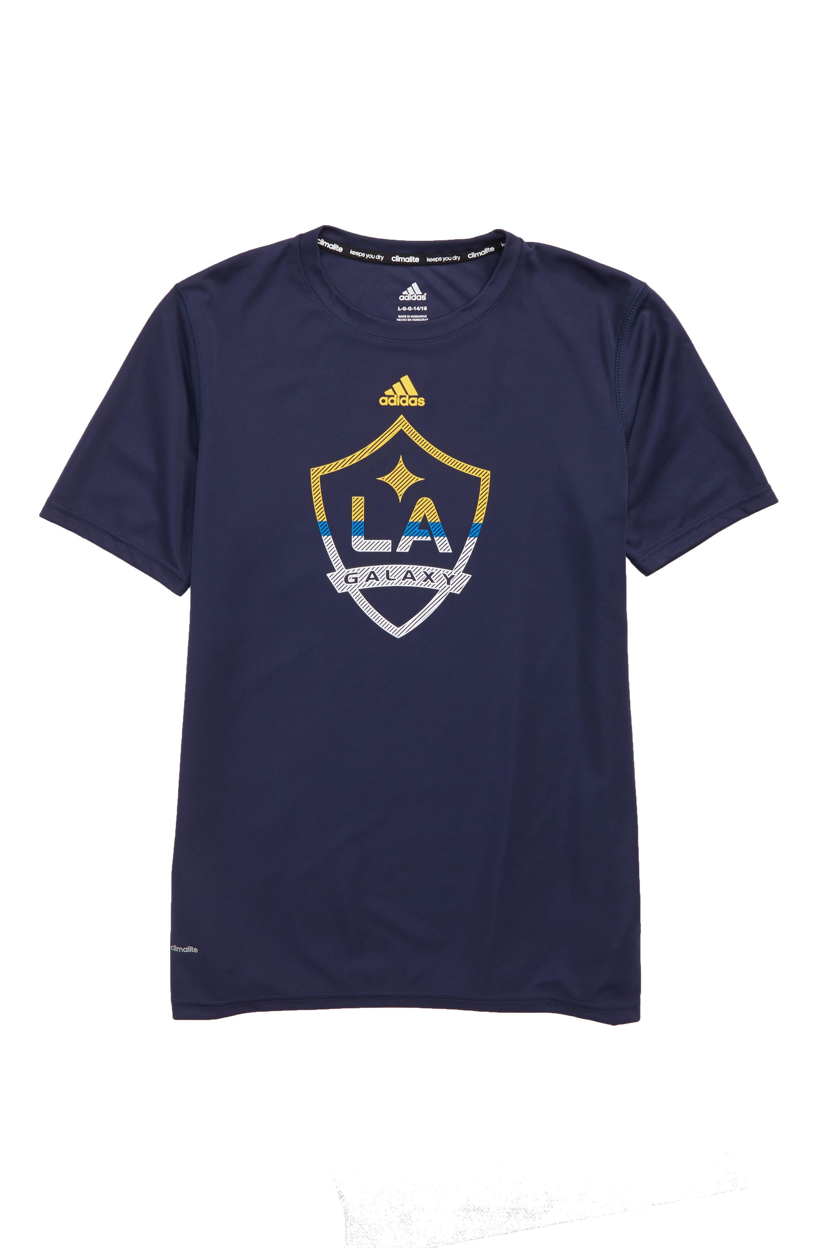 MLS LA Galaxy Climalite<sup>®</sup> T-Shirt,                             Main thumbnail 1, color,                             410