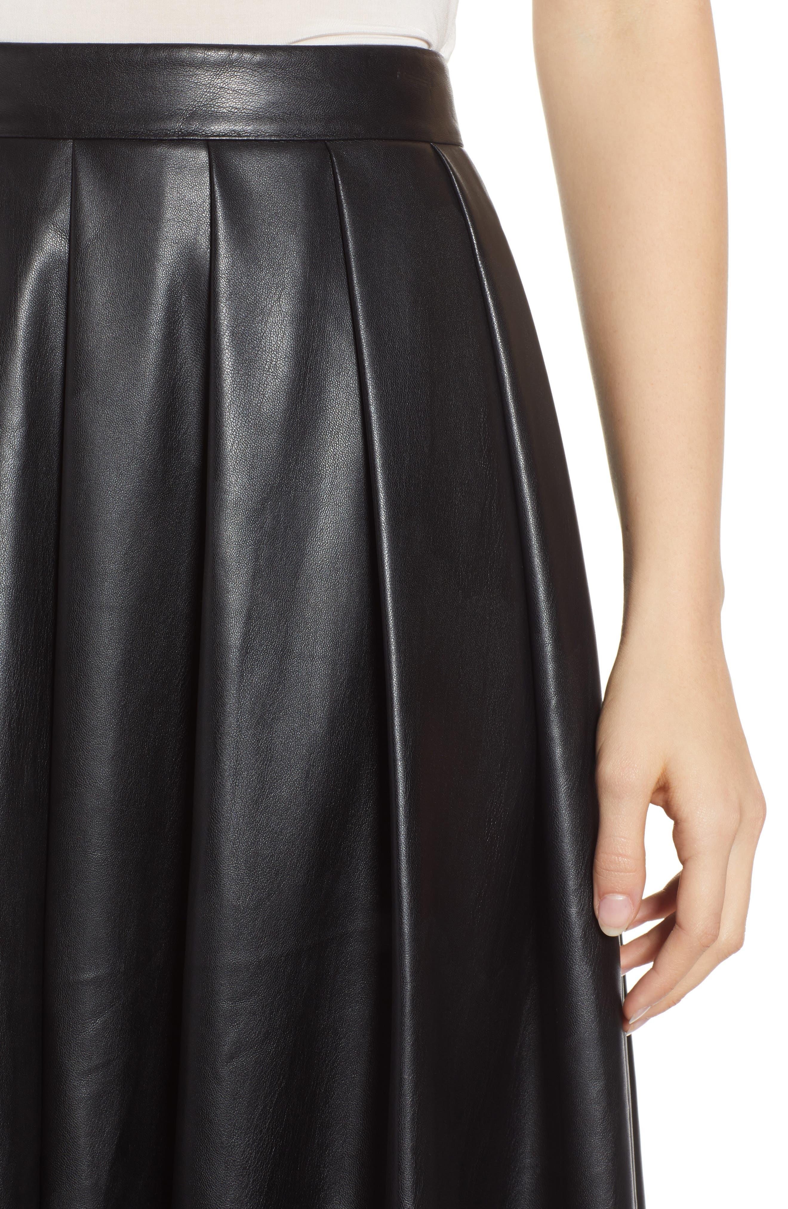 Hudson Faux Leather Midi Skirt,                             Alternate thumbnail 4, color,                             BLACK