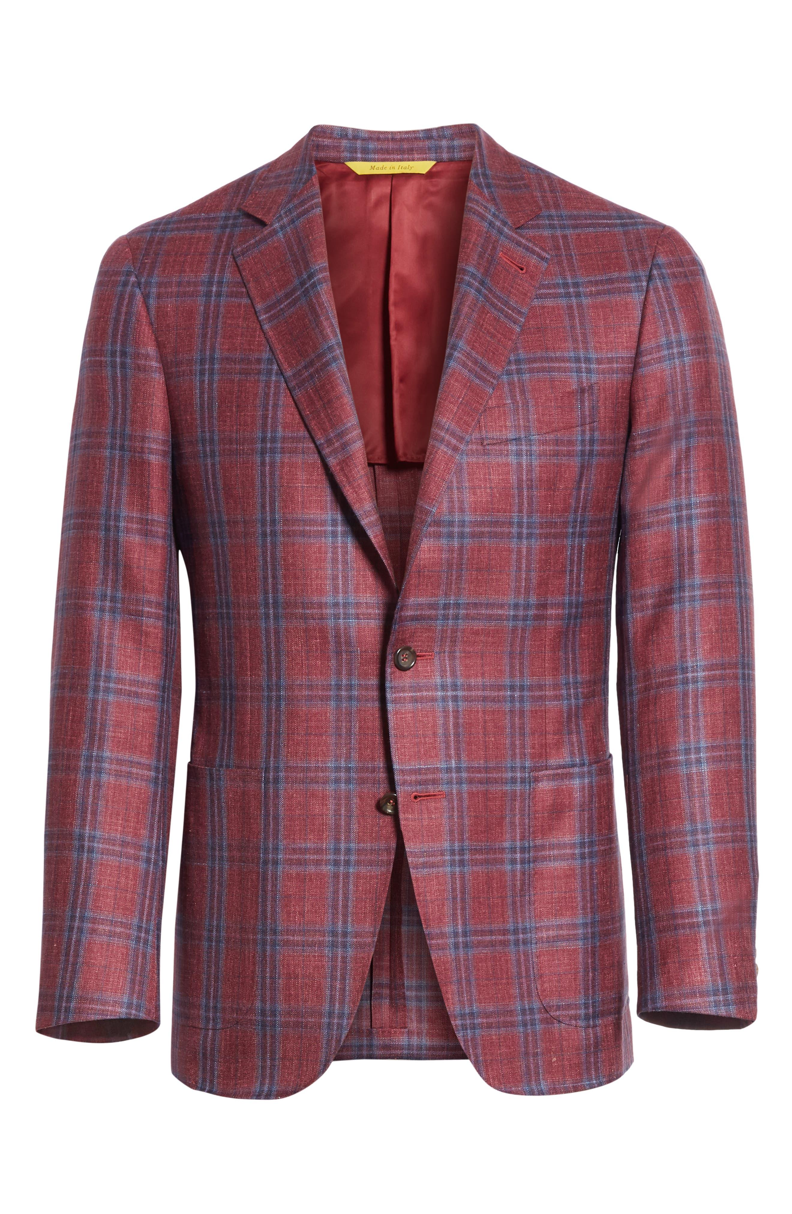 Regular Fit Wool Blend Plaid Sport Coat,                             Alternate thumbnail 5, color,