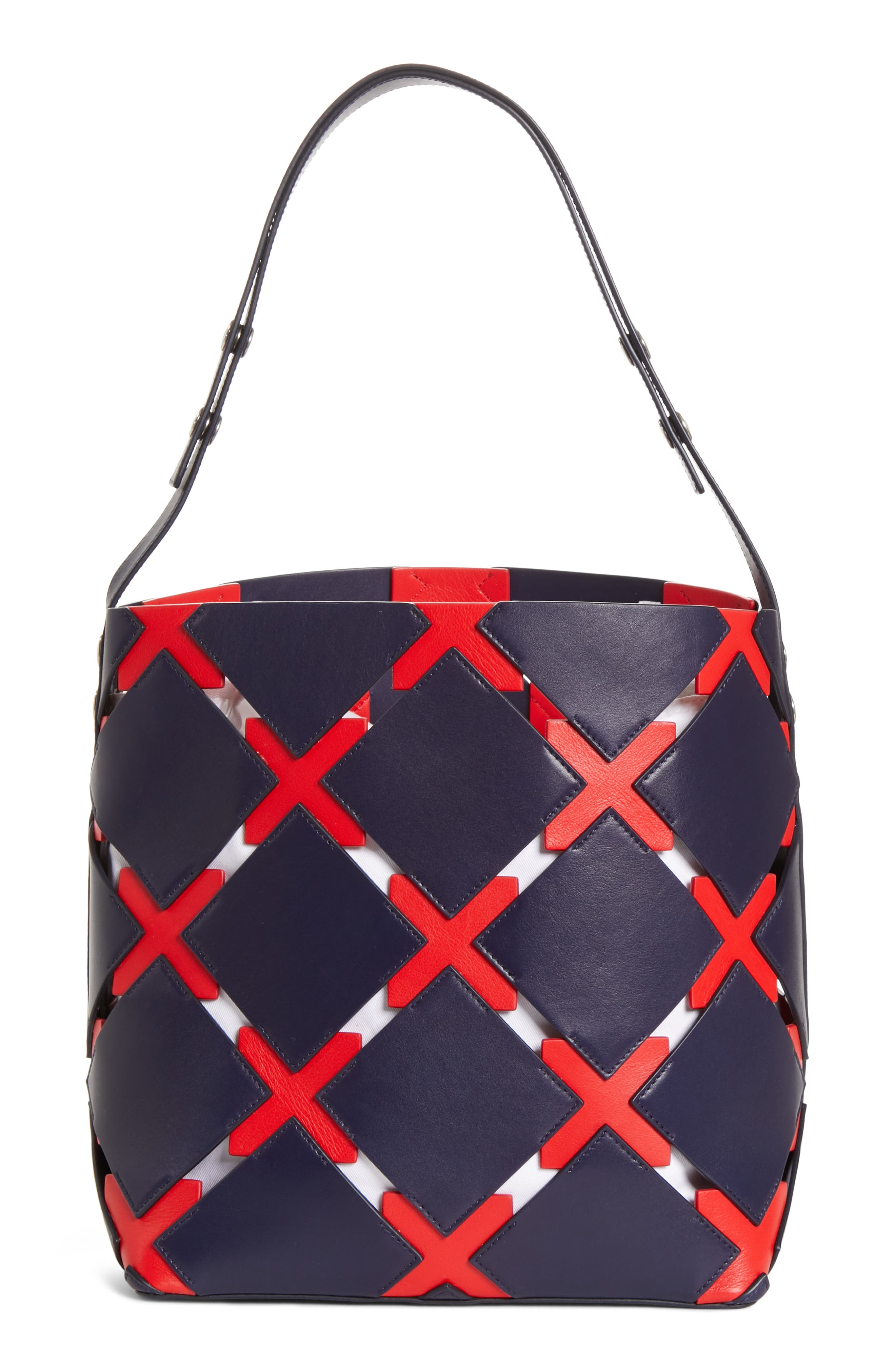 Patchwork Quilt Leather Bucket Bag,                             Alternate thumbnail 3, color,                             NAVY/ RED