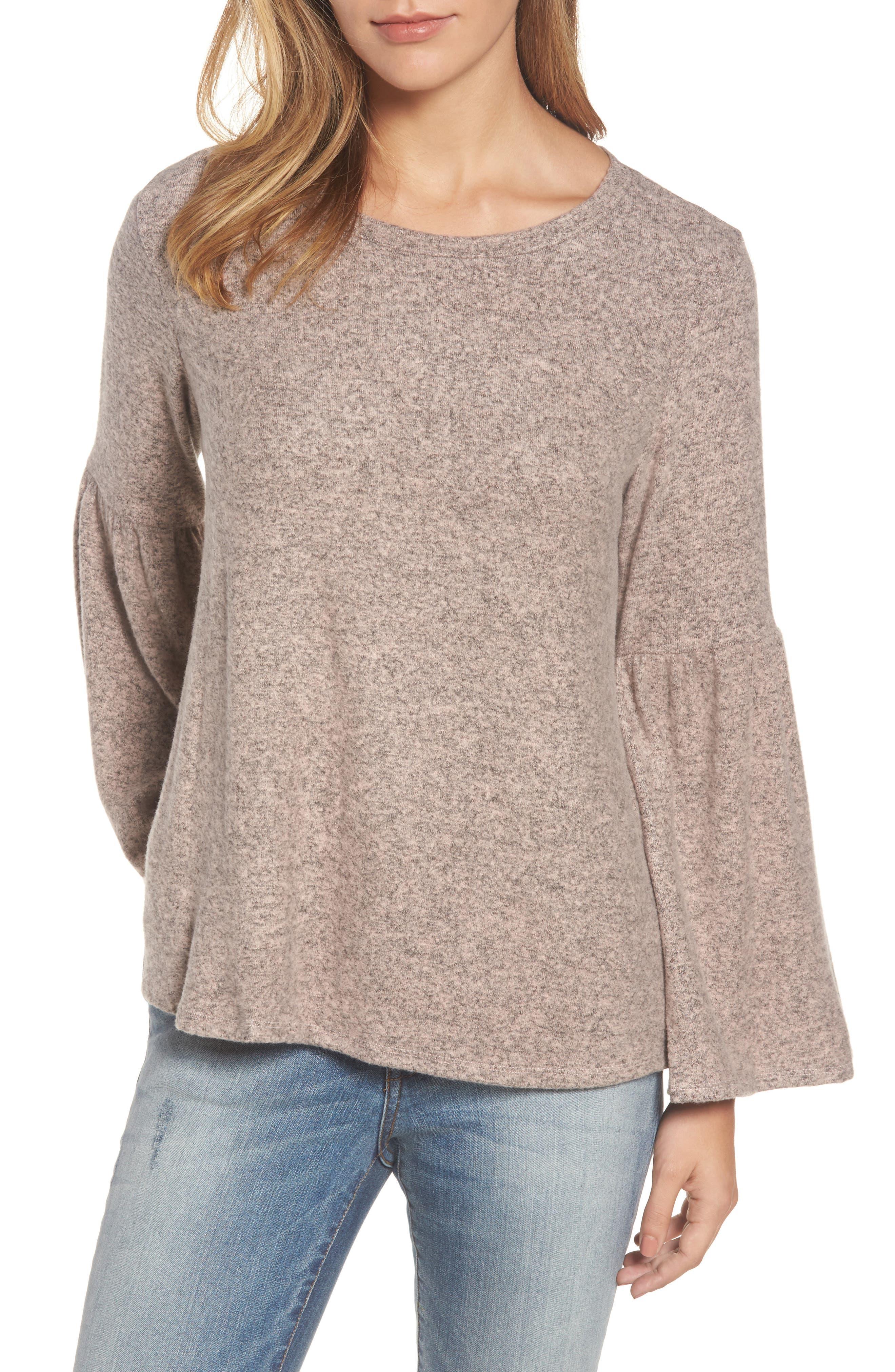 Bell Sleeve Cozy Fleece Pullover,                             Main thumbnail 6, color,