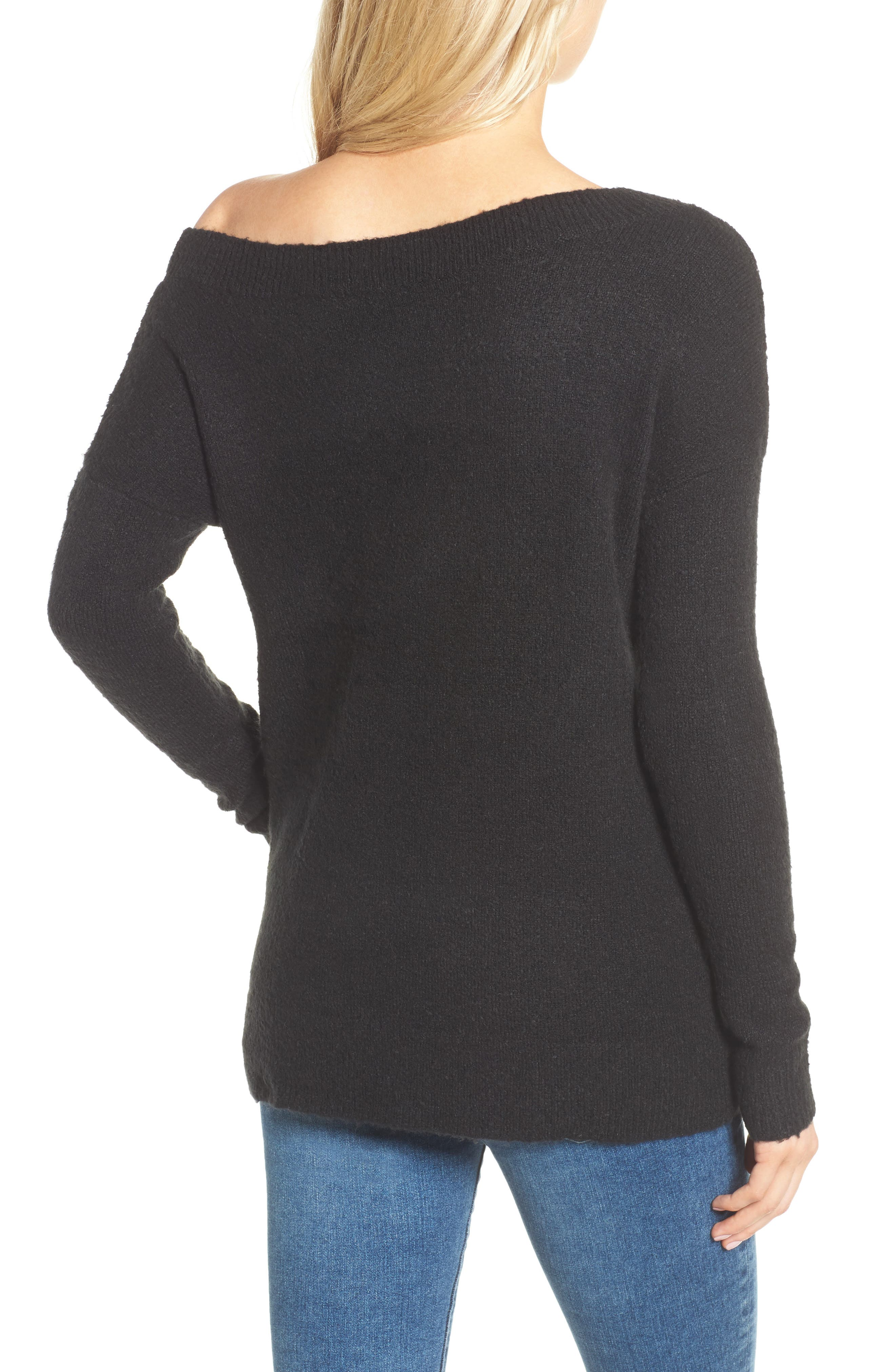 Urban Flossy One-Shoulder Sweater,                             Alternate thumbnail 3, color,