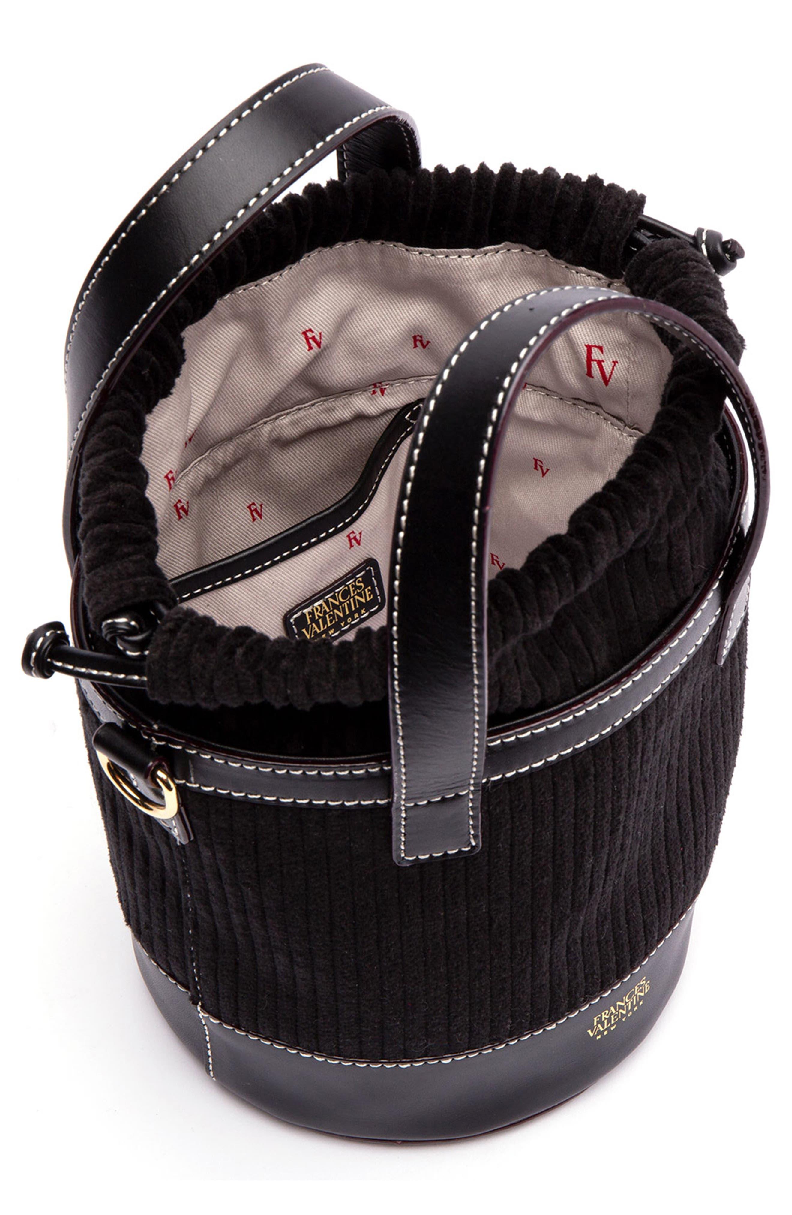 Small Corduroy Bucket Bag,                             Alternate thumbnail 2, color,                             BLACK