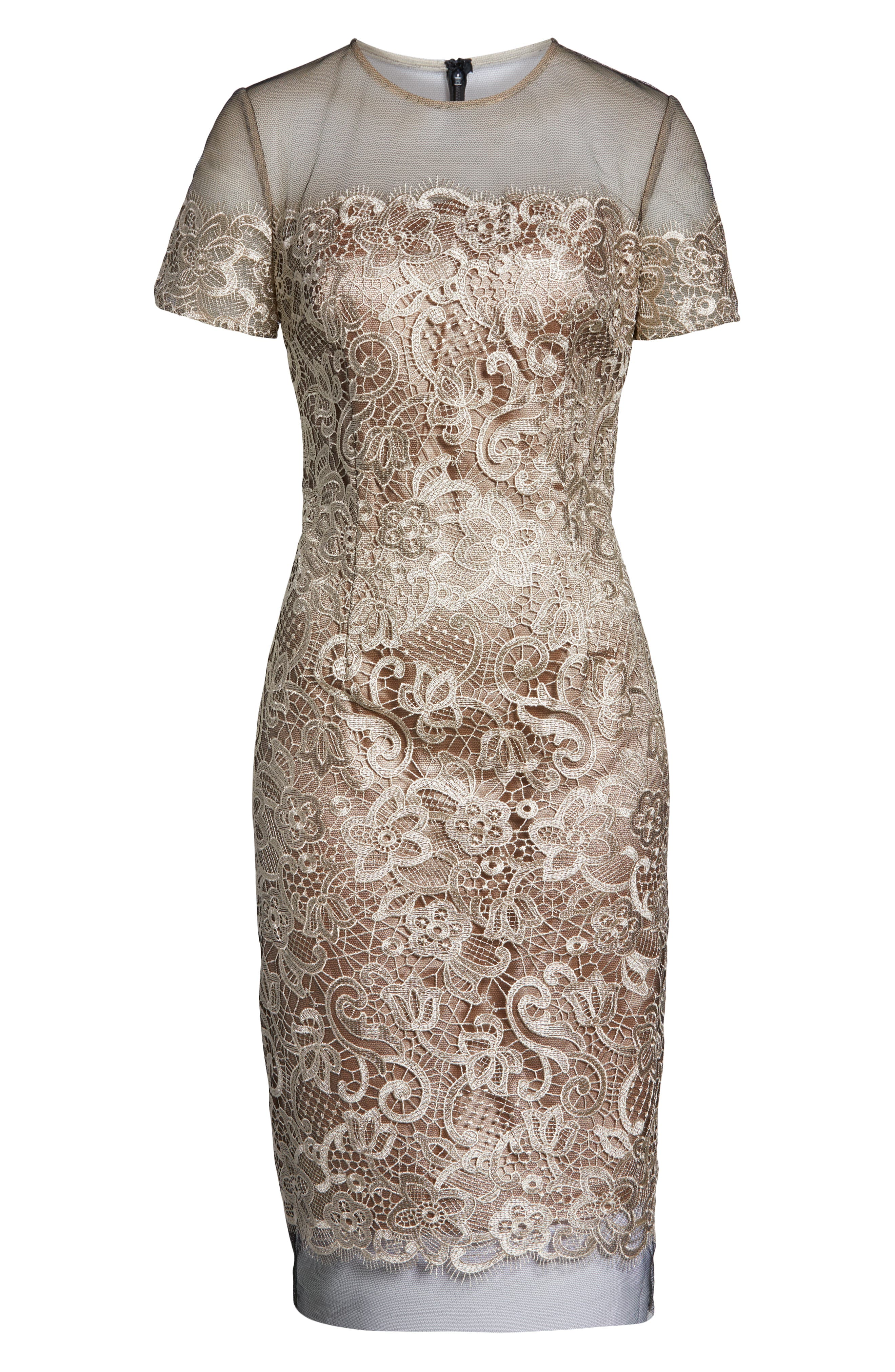 JS COLLECTIONS,                             Embroidered Lace Sheath Dress,                             Alternate thumbnail 6, color,                             BLACK/ OYSTER
