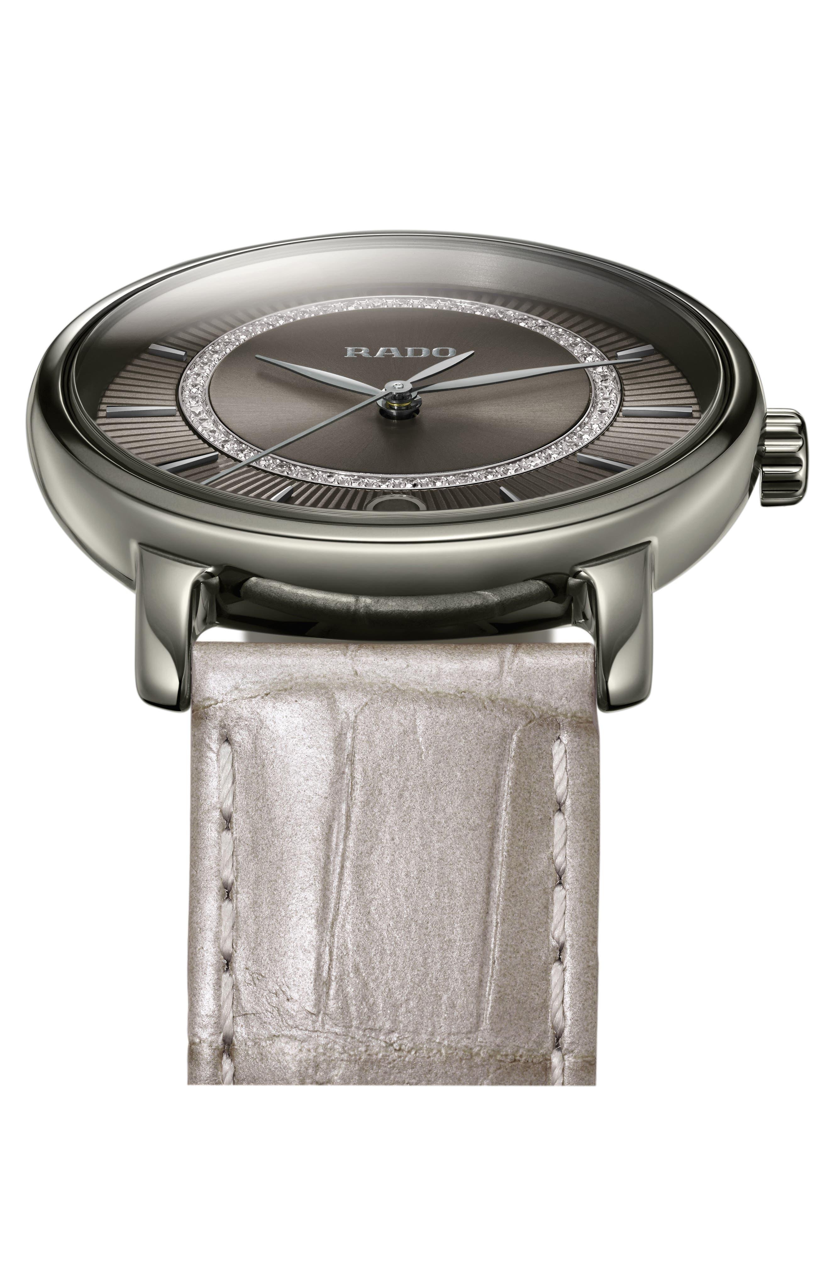 DiaMaster Diamond Leather Strap Watch, 33mm,                             Alternate thumbnail 5, color,                             GREY/ TITANIUM