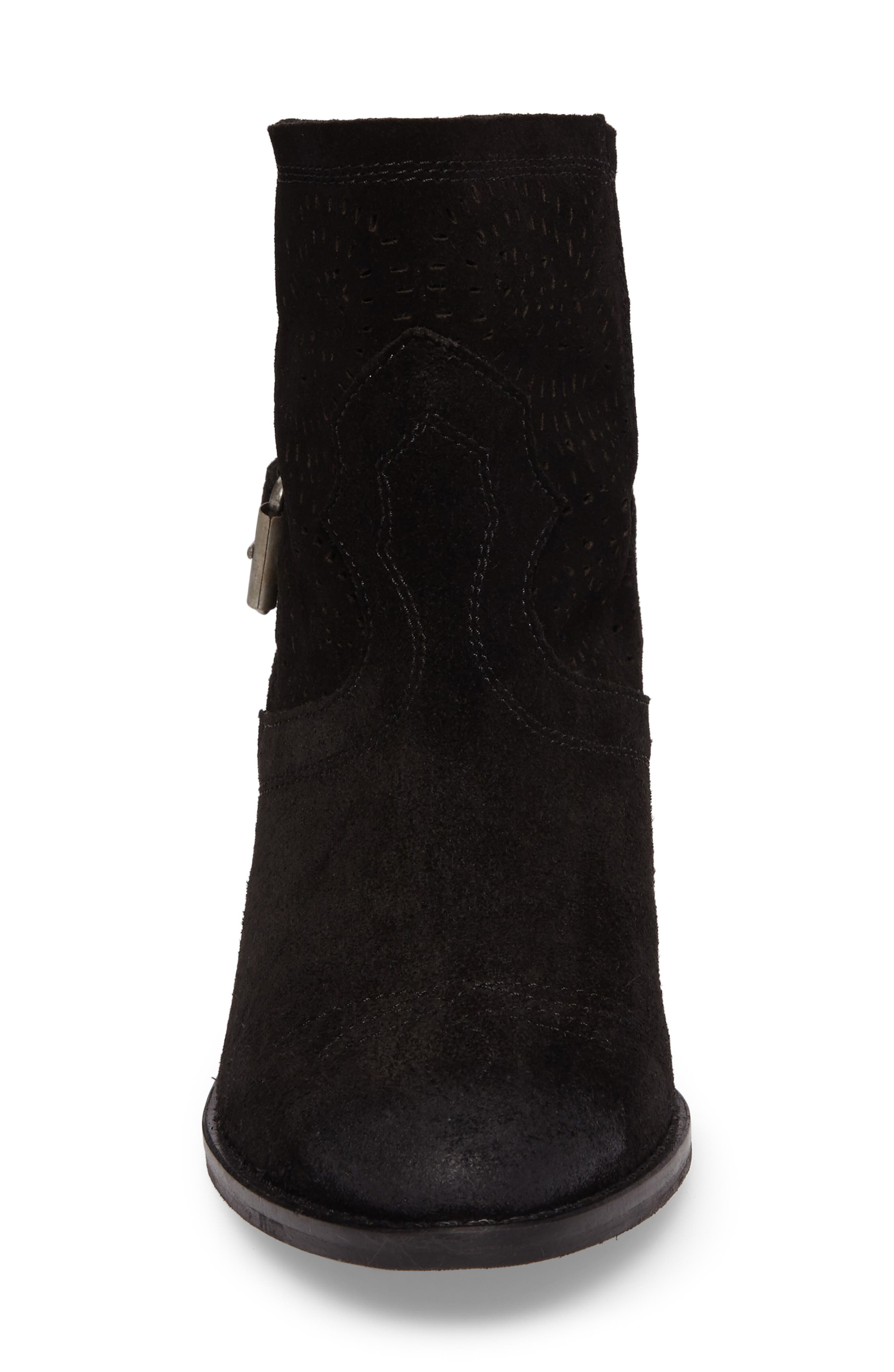Zoey Perforated Bootie,                             Alternate thumbnail 4, color,                             001