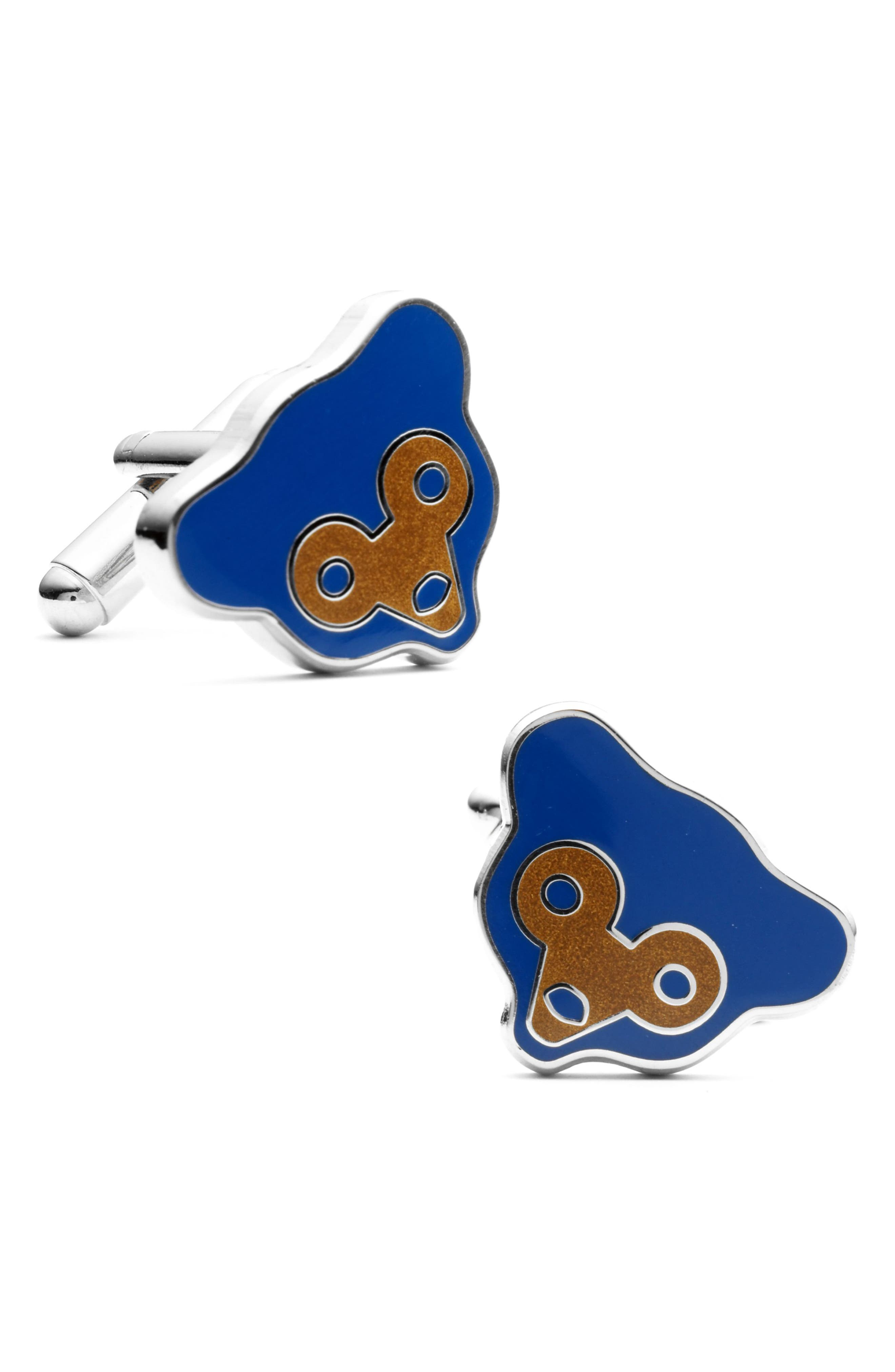 Retro Chicago Cubs Cuff Links,                             Main thumbnail 1, color,                             BLUE