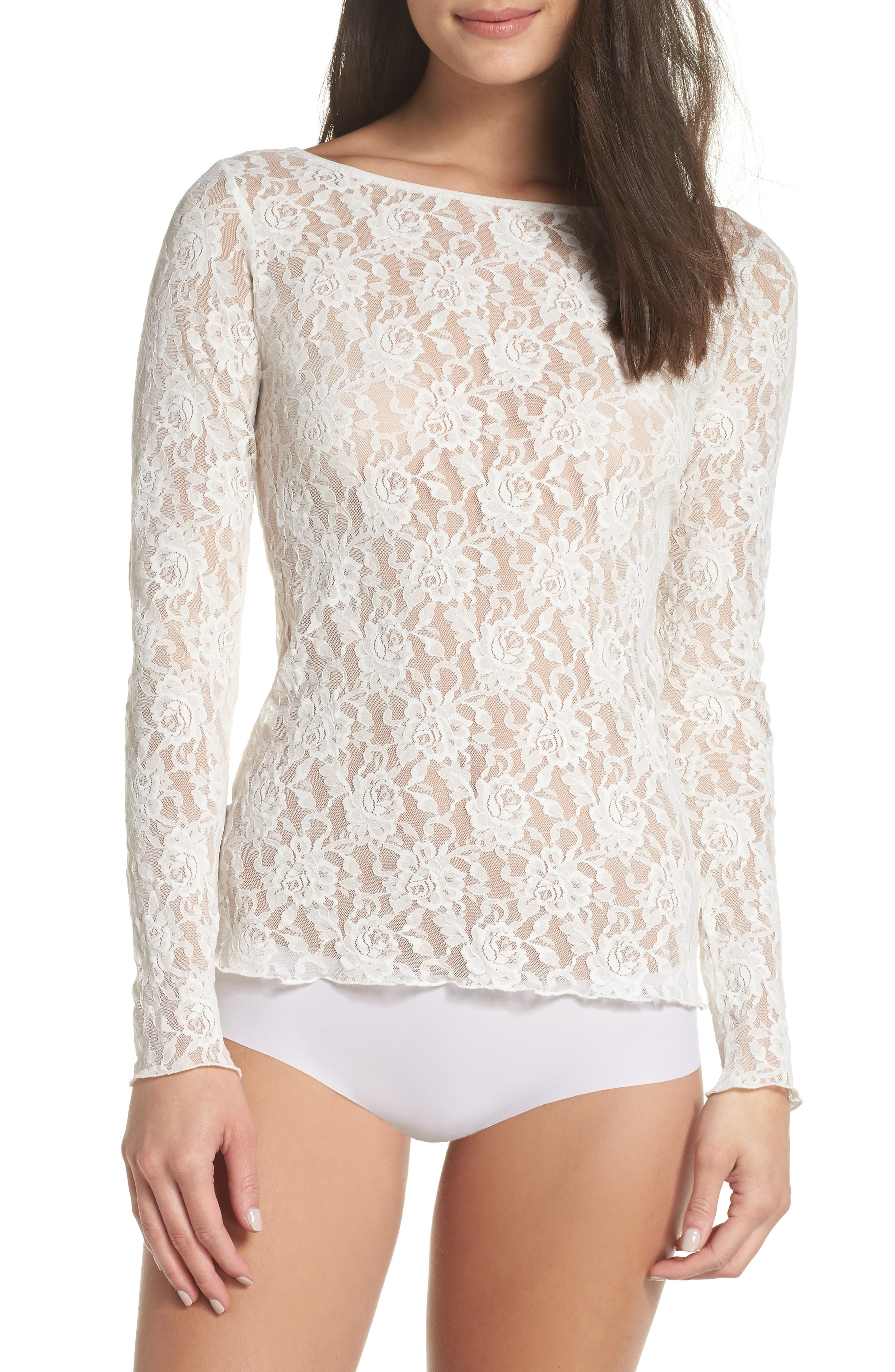 Signature Lace 2-Way Top,                             Alternate thumbnail 2, color,                             MARSHMALLOW