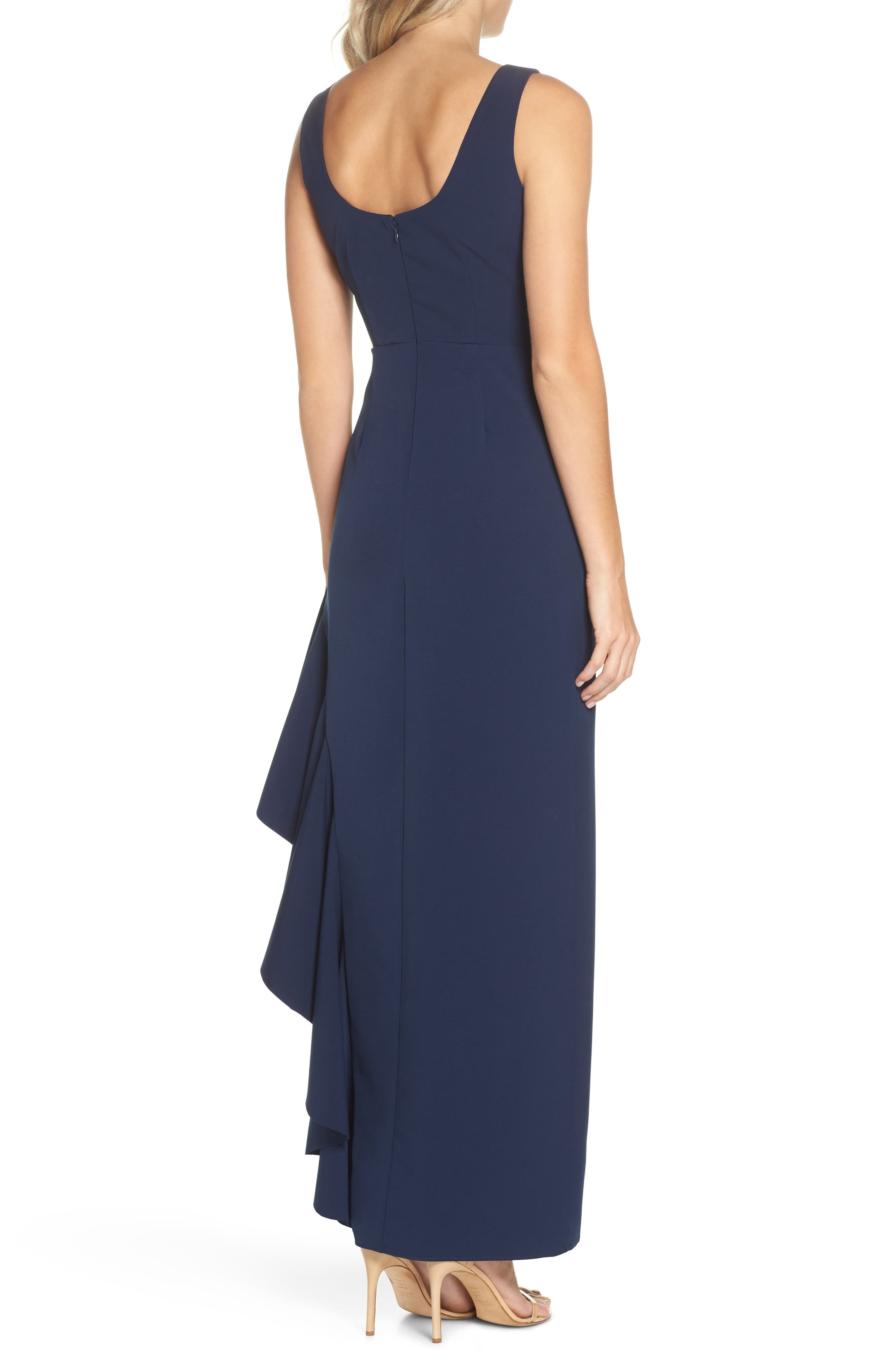 Ruffle Gown,                             Alternate thumbnail 2, color,                             NAVY