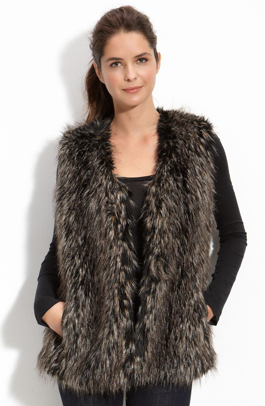 'Savona' Faux Fur Vest,                             Main thumbnail 1, color,                             001