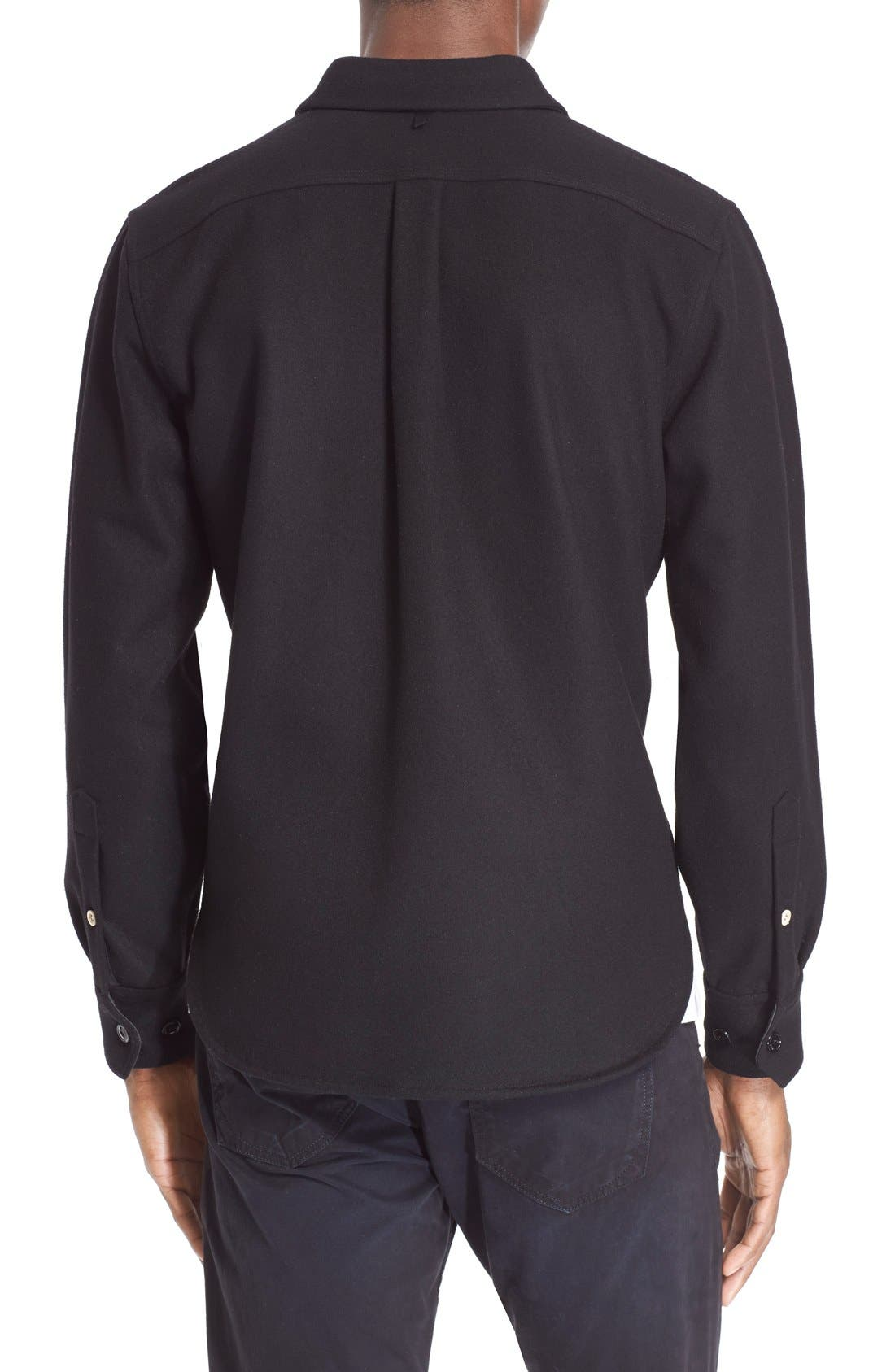 'Jack' Trim Fit Wool Shirt,                             Alternate thumbnail 3, color,                             001