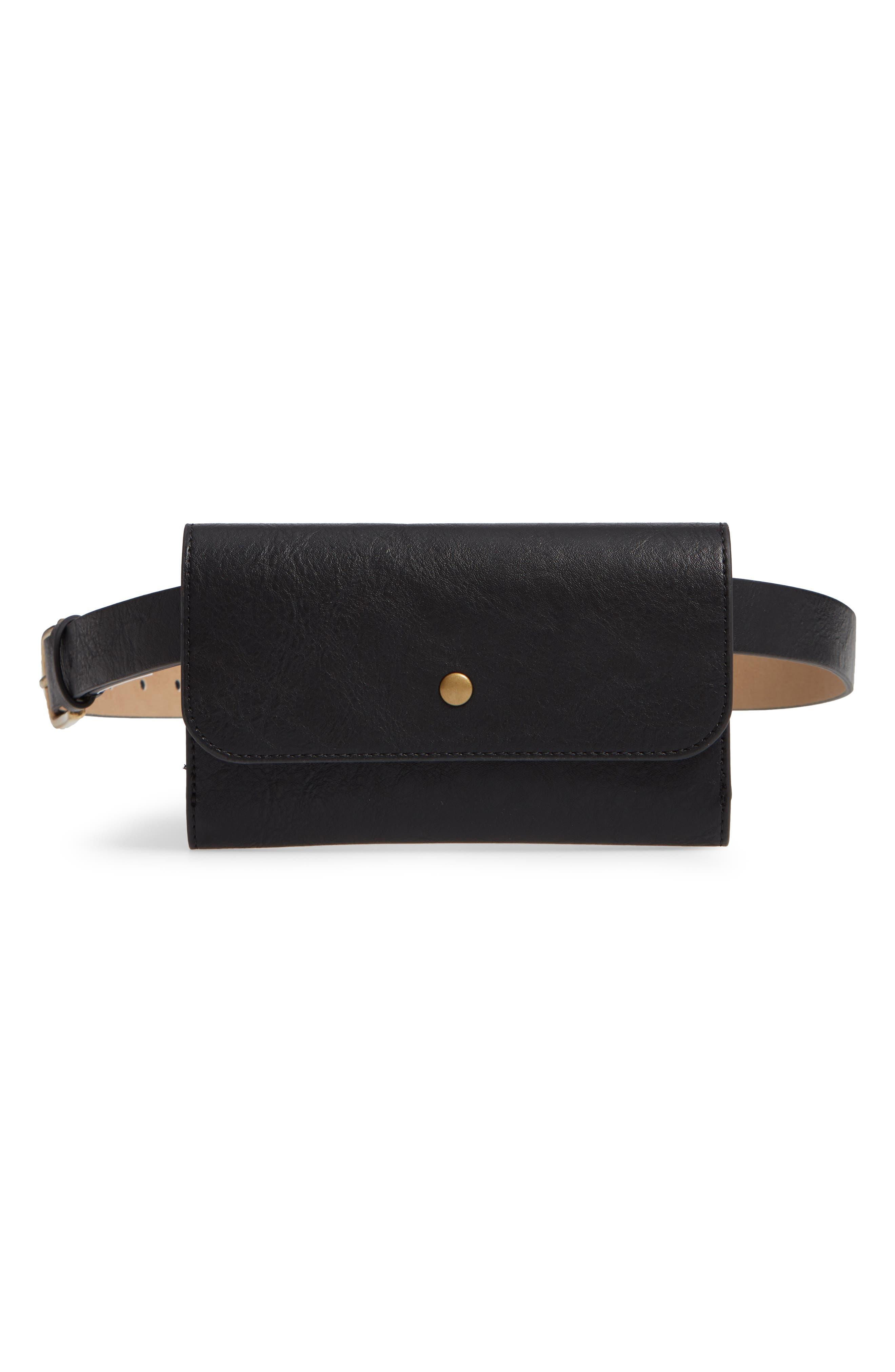 Faux Leather Belt Bag,                             Main thumbnail 1, color,                             BLACK