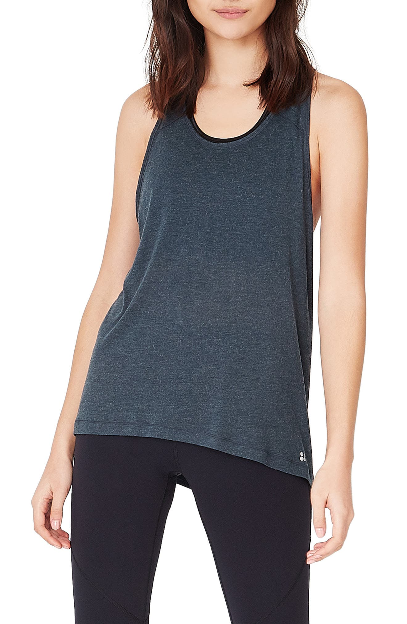 Compound Jersey Tank,                         Main,                         color, BEETLE BLUE MARL